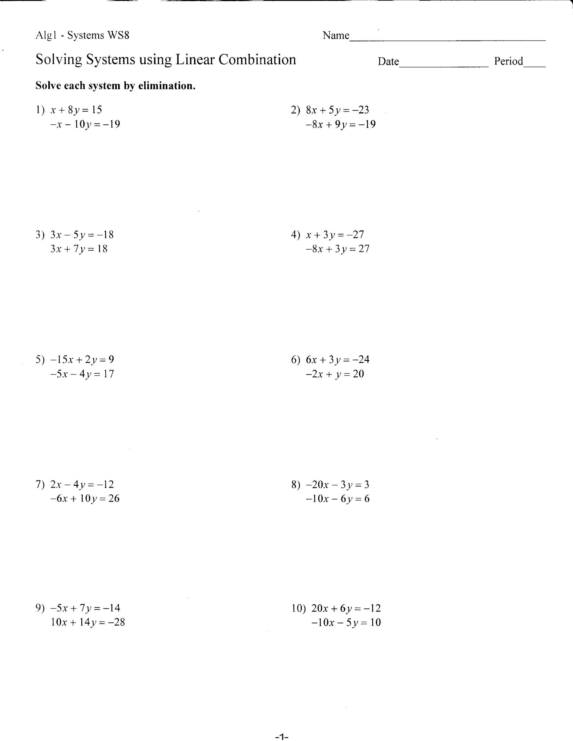Systems Of Equations Elimination Worksheet 32 solving System by Elimination Worksheet Worksheet