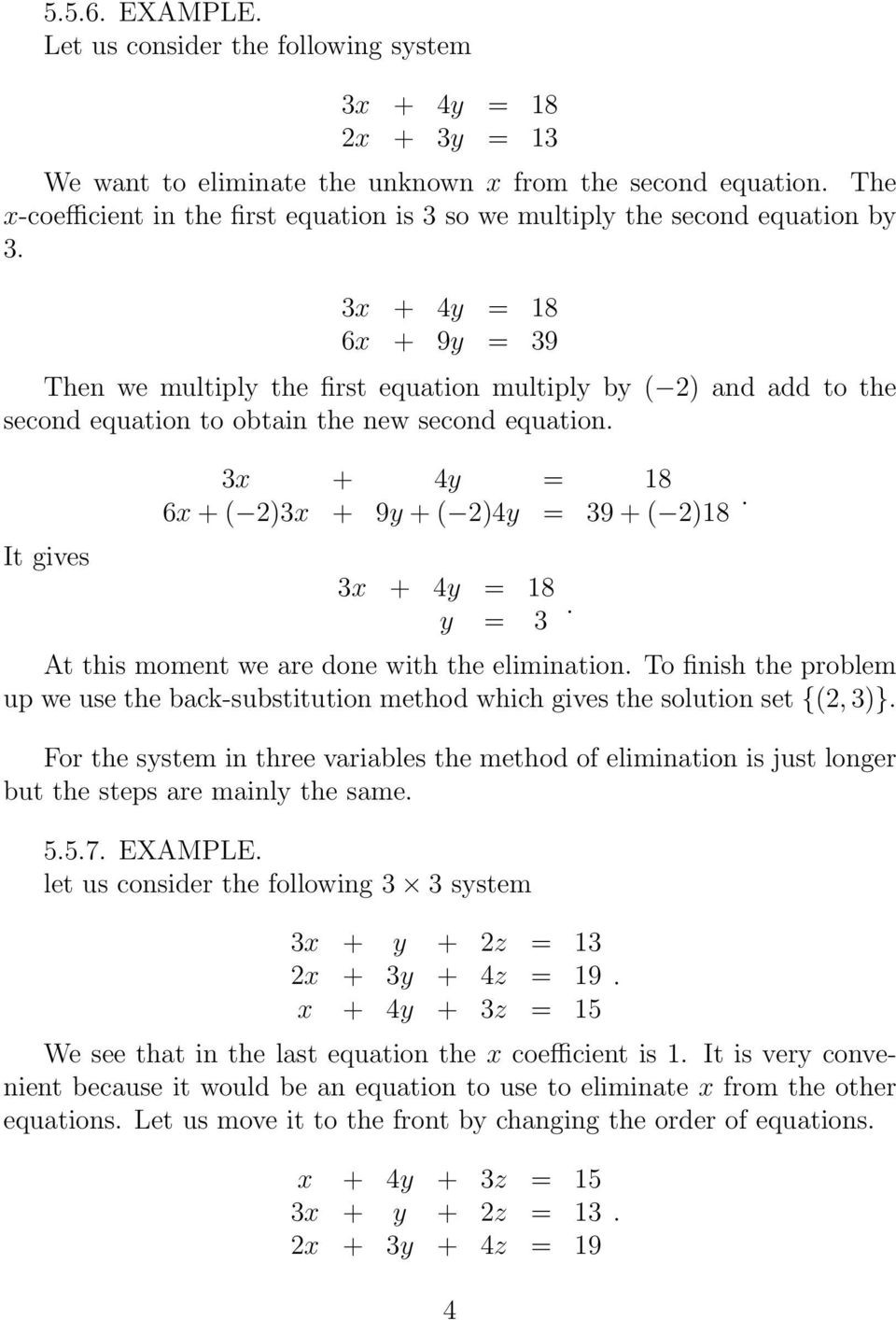 Systems Of Equations Elimination Worksheet 5 5 solving Linear Systems by the Elimination Method Pdf