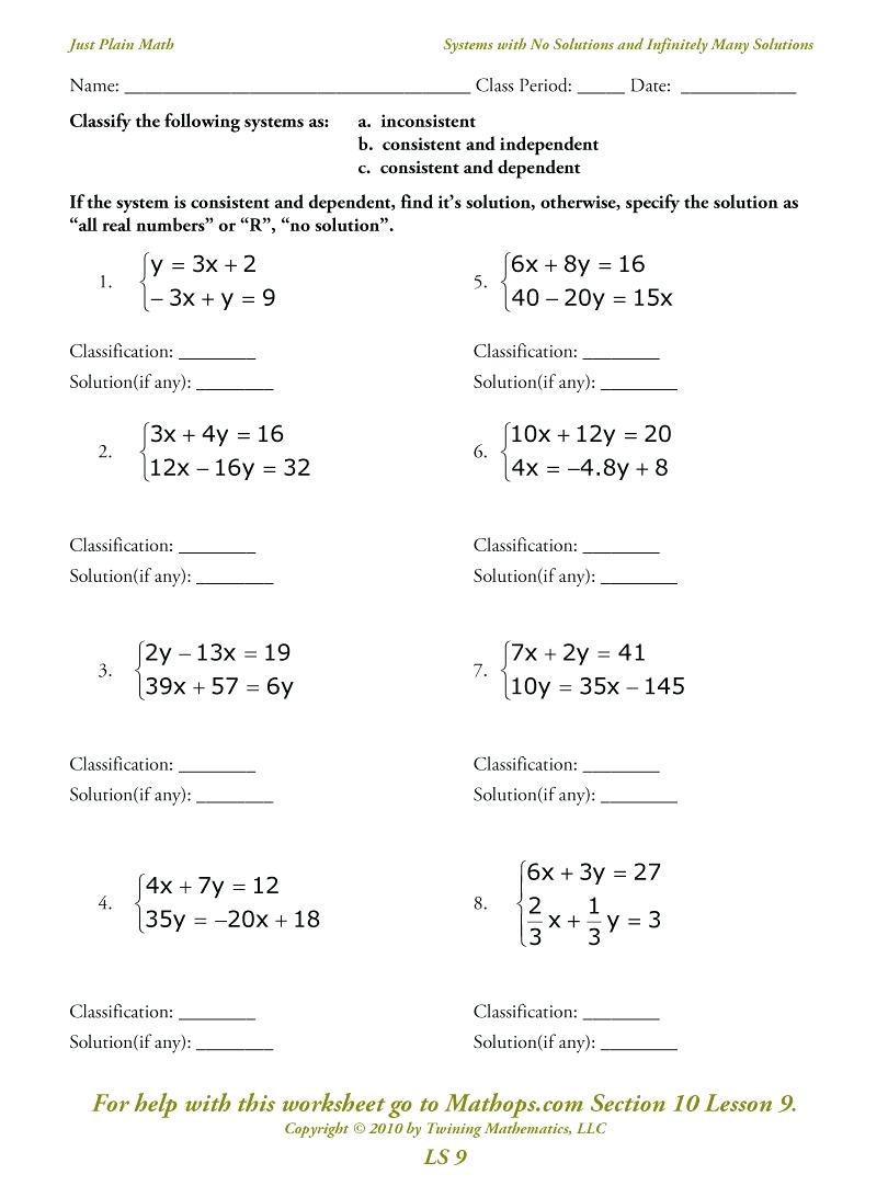 Systems Of Equations Elimination Worksheet Linear Systems Worksheet with Answers Promotiontablecovers