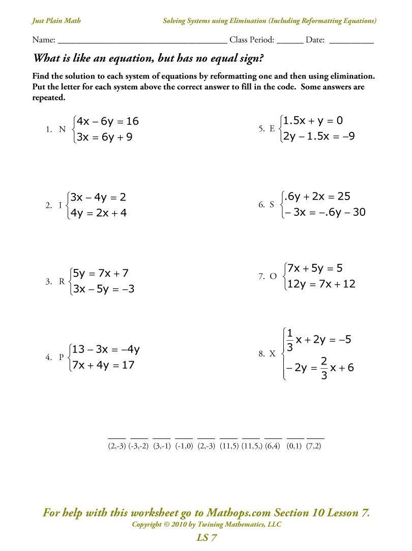 Systems Of Equations Elimination Worksheet solving Simple Equations Worksheet Ks3 Algebra