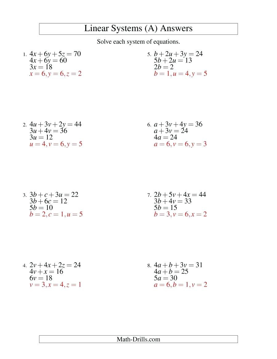 Systems Of Equations Elimination Worksheet solving Systems Linear Equations Elimination Worksheet