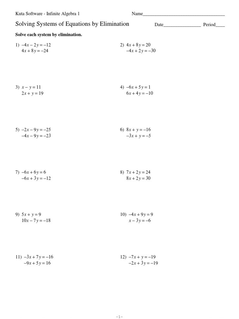 Systems Of Equations Elimination Worksheet Systems Of Equations Elimination Kuta software