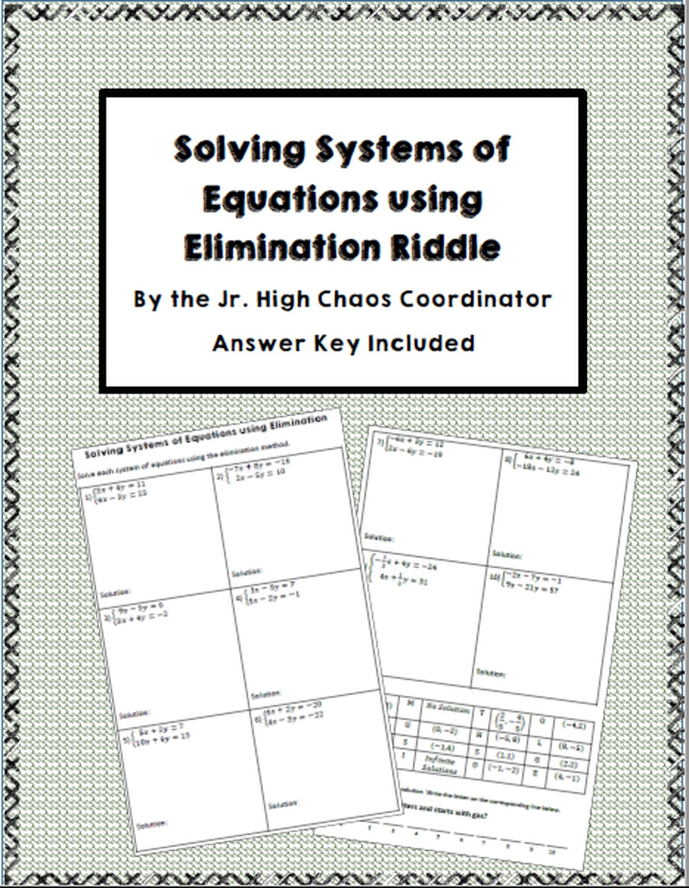 Systems Of Equations Elimination Worksheet Systems Of Equations Elimination Riddle Worksheet