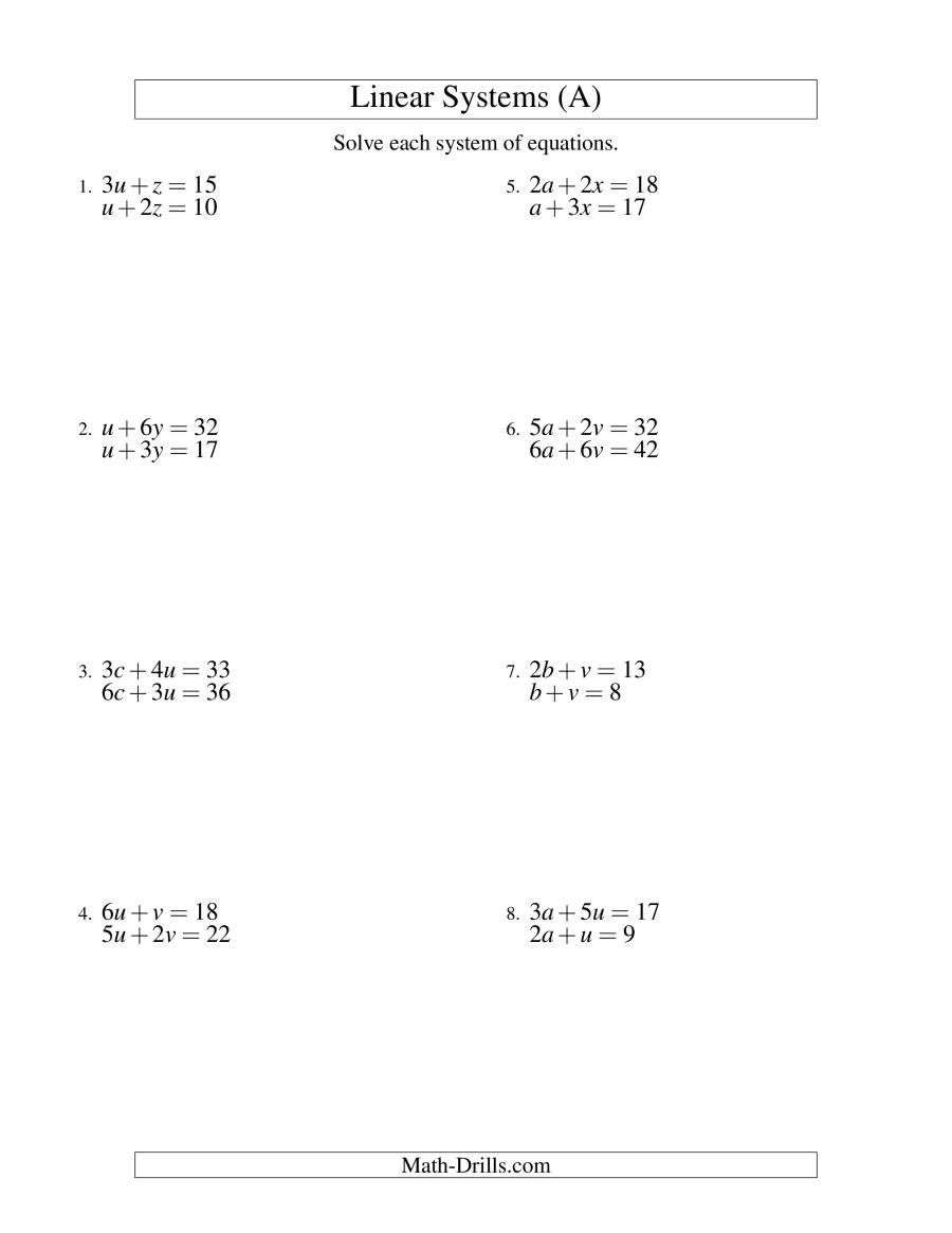 Systems Of Equations Elimination Worksheet Systems Of Linear Equations Two Variables A