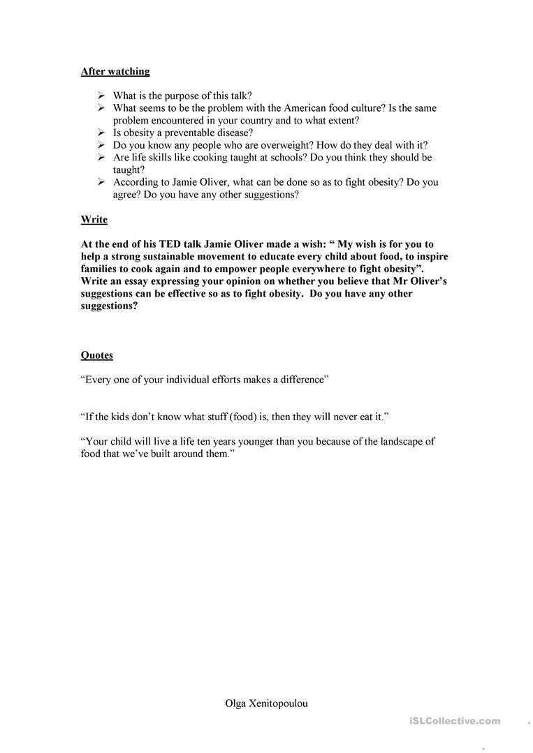Teddy Roosevelt Square Deal Worksheet Jamie Oliver Ted Talk Worksheet