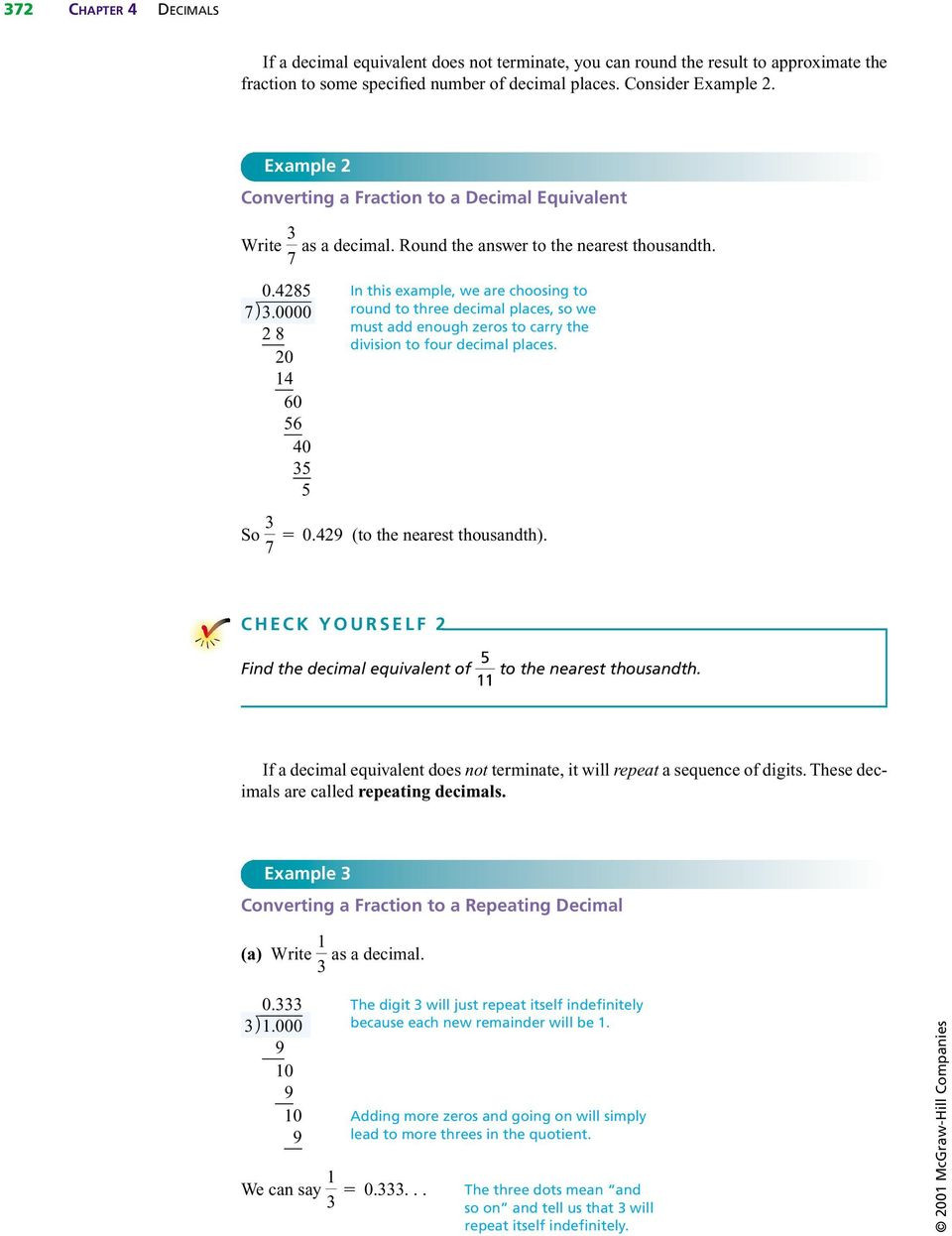Terminating and Repeating Decimals Worksheet Converting From Fractions to Decimals Pdf Free Download