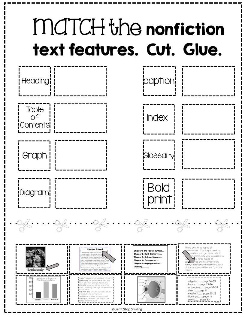 Text Features Worksheet Pdf Free Nonfiction Text Features Matching Activity