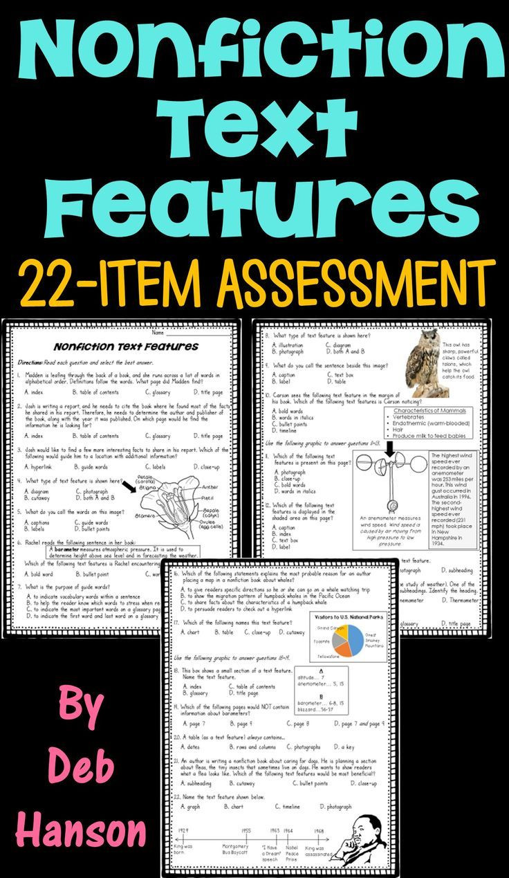 Text Features Worksheet Pdf Nonfiction Text Feature assessment or Worksheet