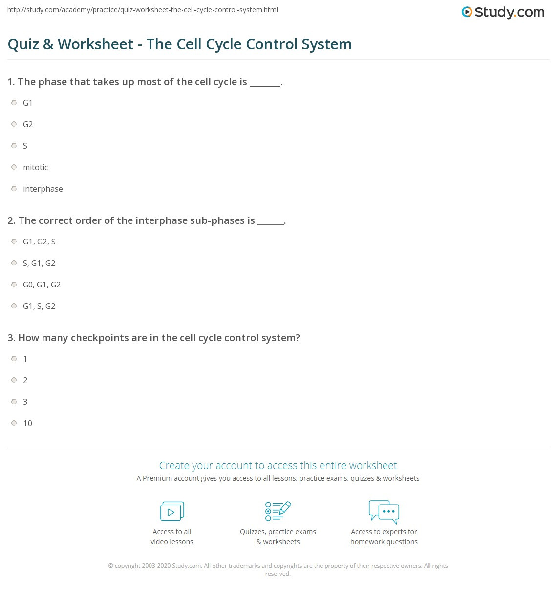 The Cell Cycle Worksheet Quiz & Worksheet the Cell Cycle Control System