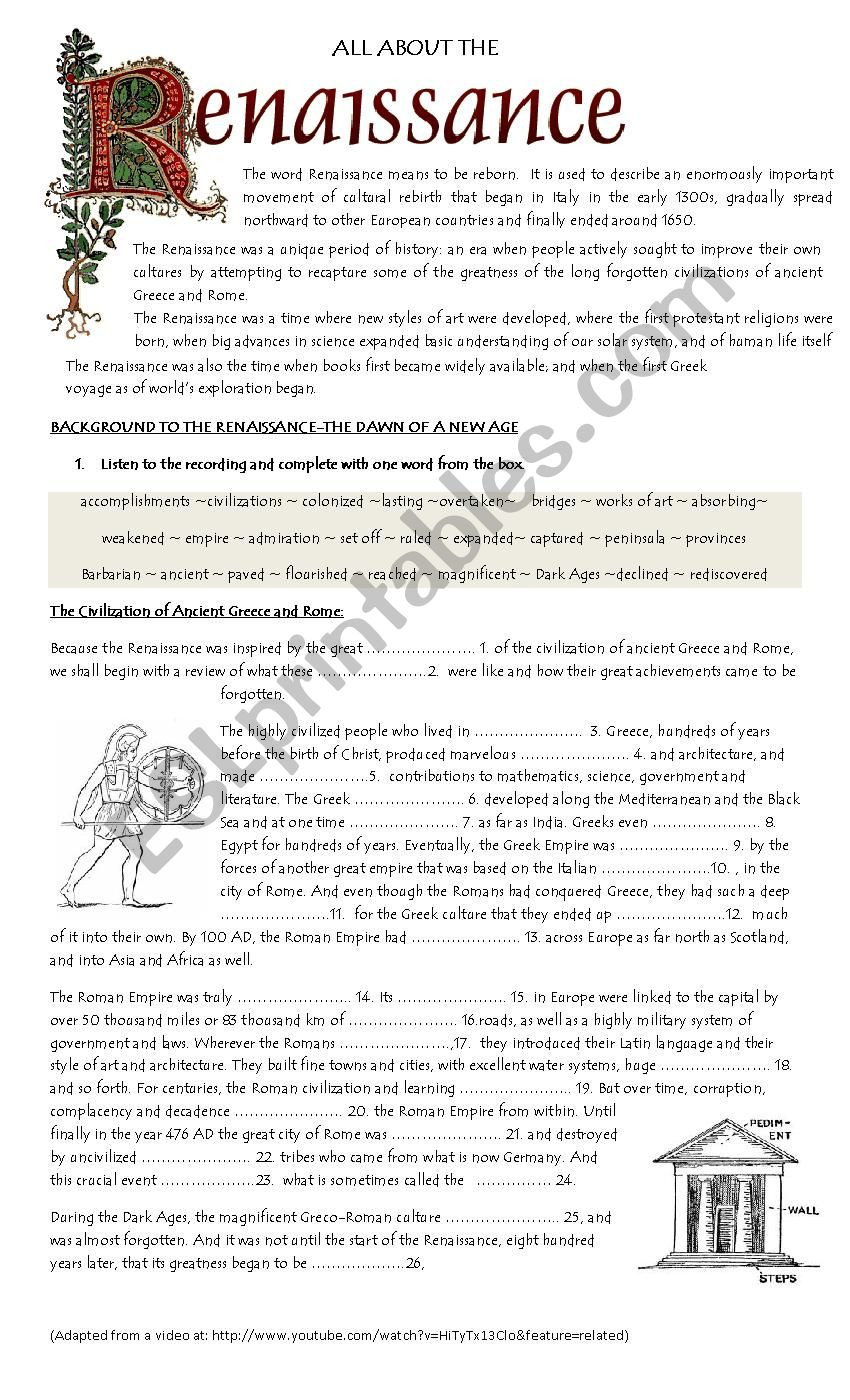 The Dark Ages Video Worksheet Background to the Renaissance Esl Worksheet by