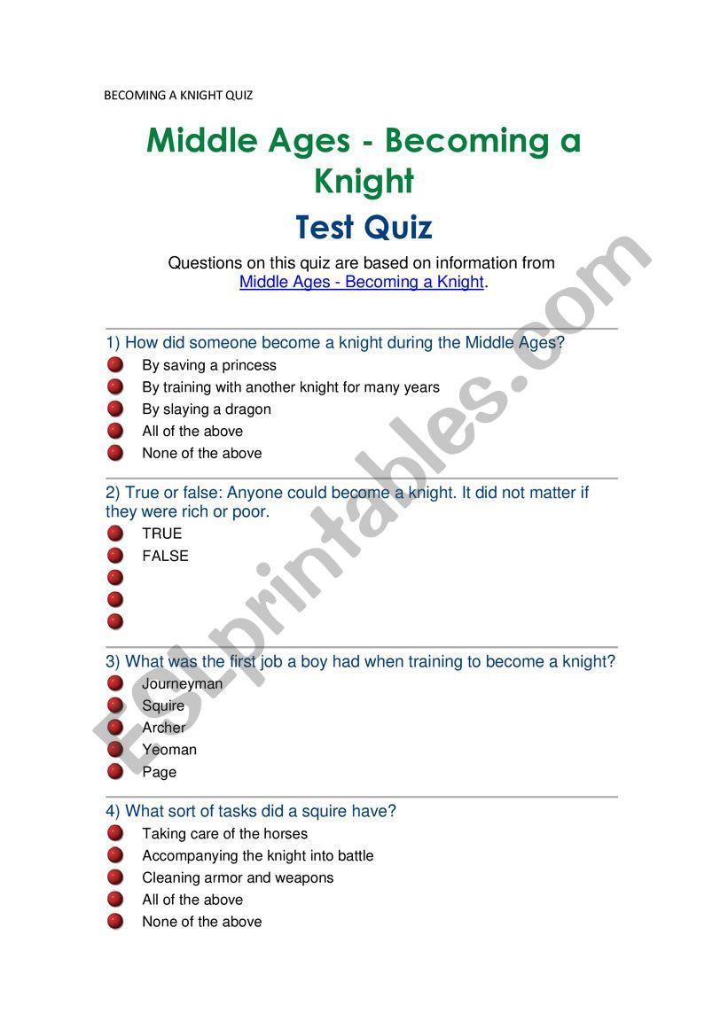 The Dark Ages Video Worksheet Be Ing A Knight Quiz Middle Ages Esl Worksheet by Jvarpor732