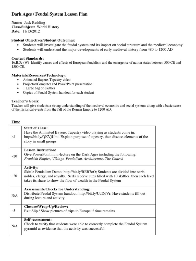 The Dark Ages Video Worksheet Dark Ages Lesson Plan Lesson Plan Feudalism