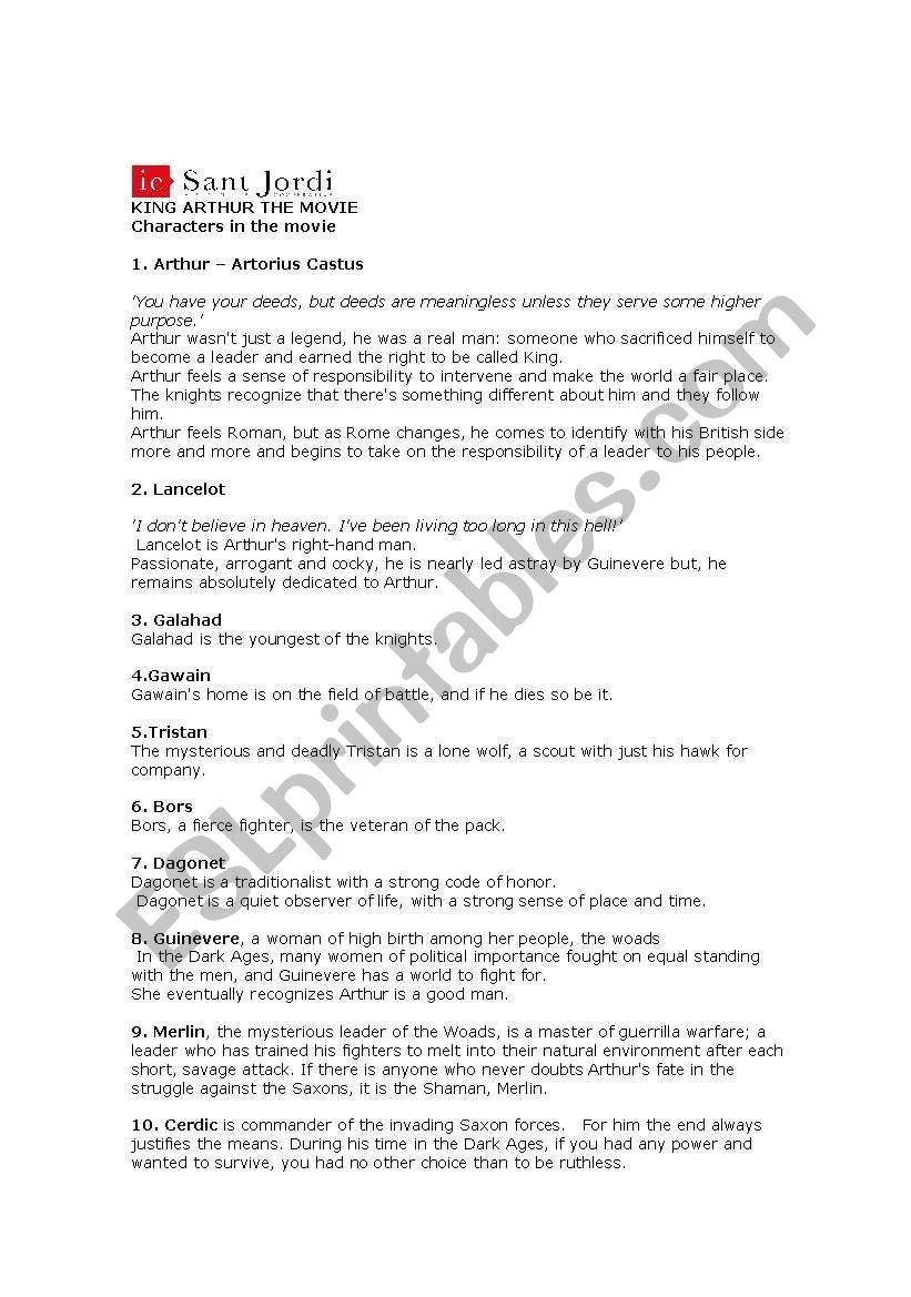 The Dark Ages Video Worksheet English Worksheets Tasks On King Arthur Movie 2004