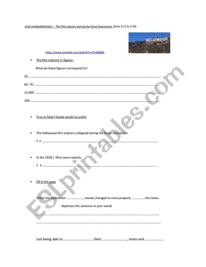 The Great Depression Worksheet Hollywood During the Great Depression Era Esl Worksheet by