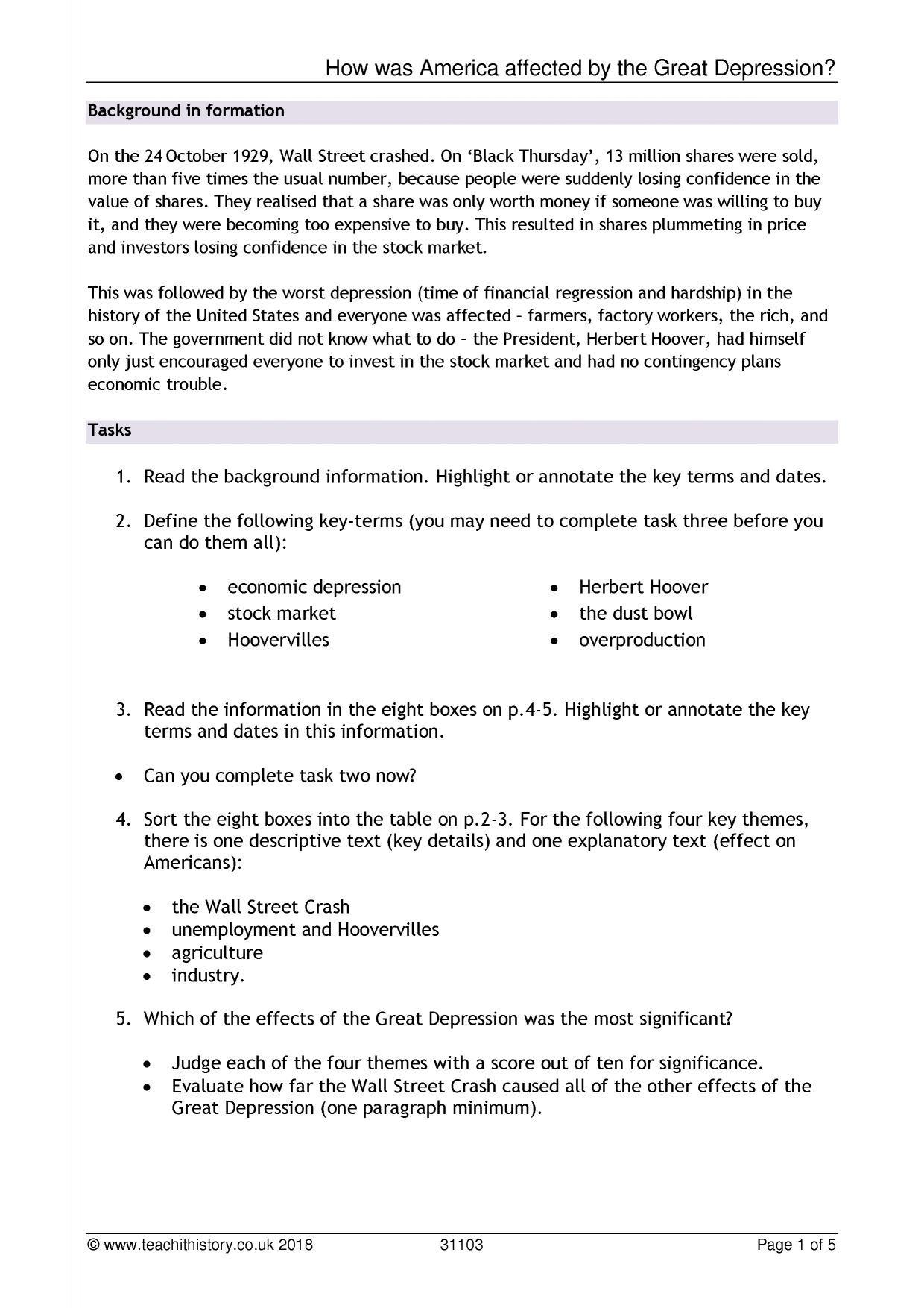The Great Depression Worksheet Ks4 Gcse Worksheet
