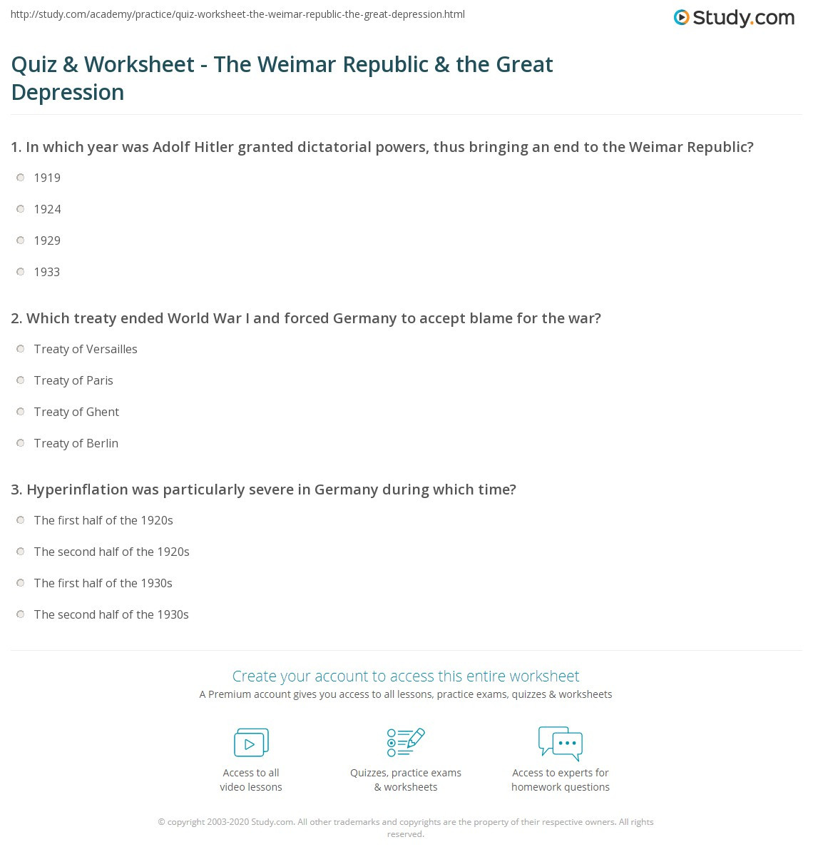 The Great Depression Worksheet Quiz & Worksheet the Weimar Republic & the Great