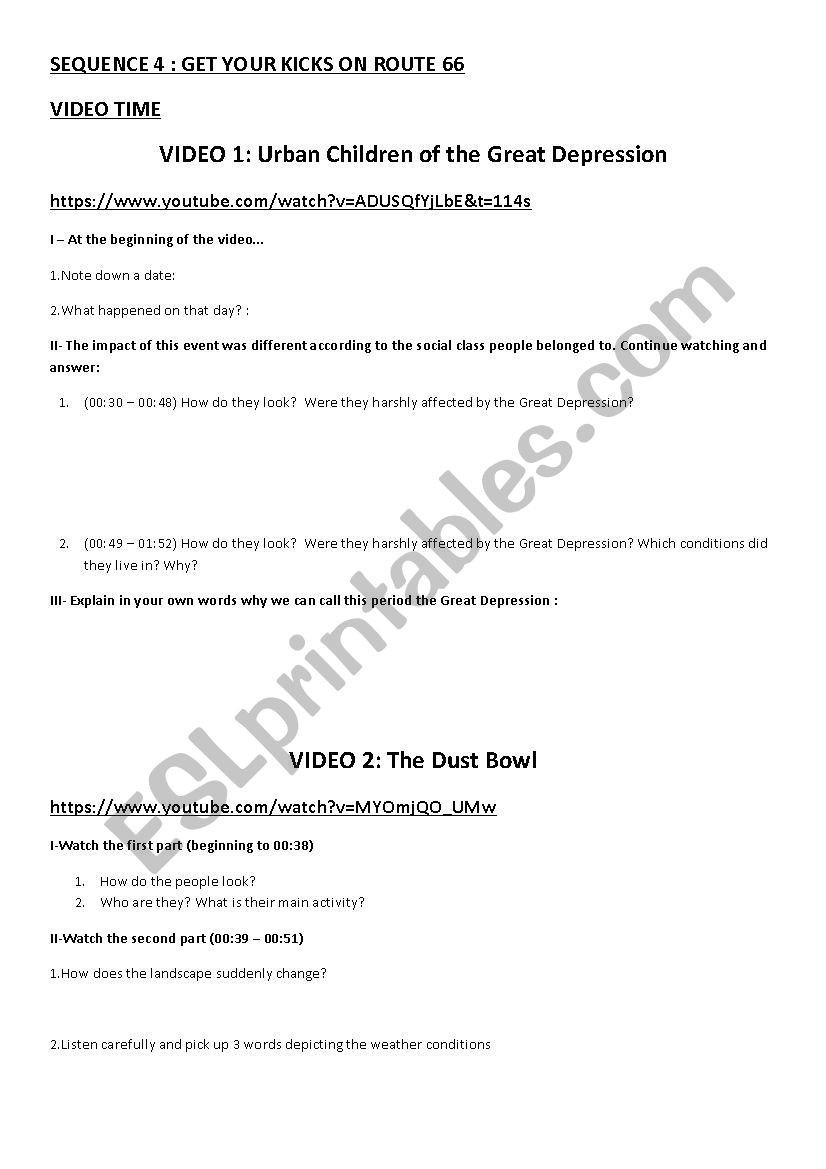 The Great Depression Worksheet the Dust Bowl and Great Depression Esl Worksheet by Colbertine