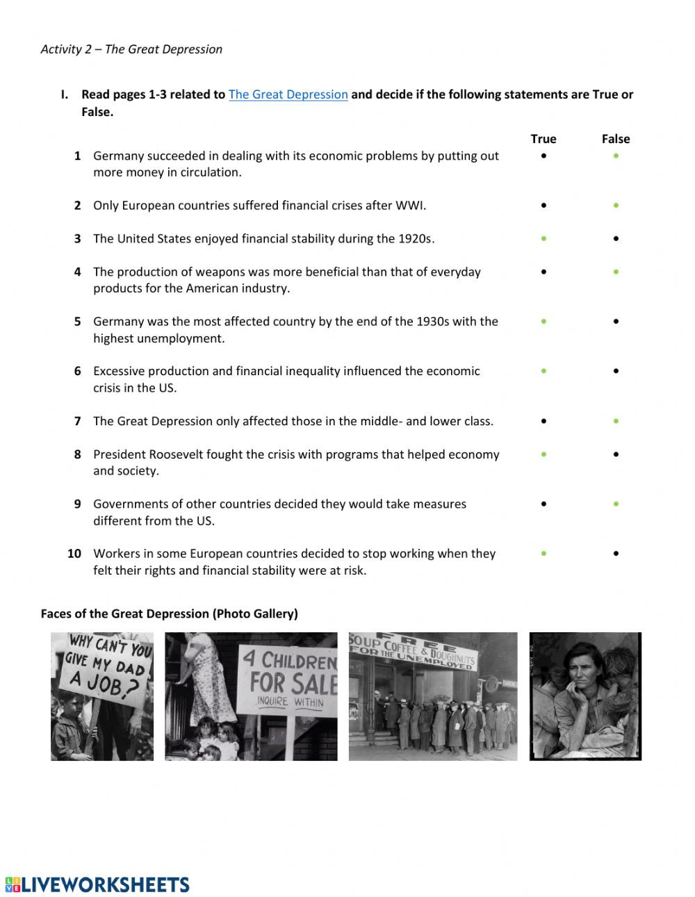 The Great Depression Worksheet the Great Depression Interactive Worksheet