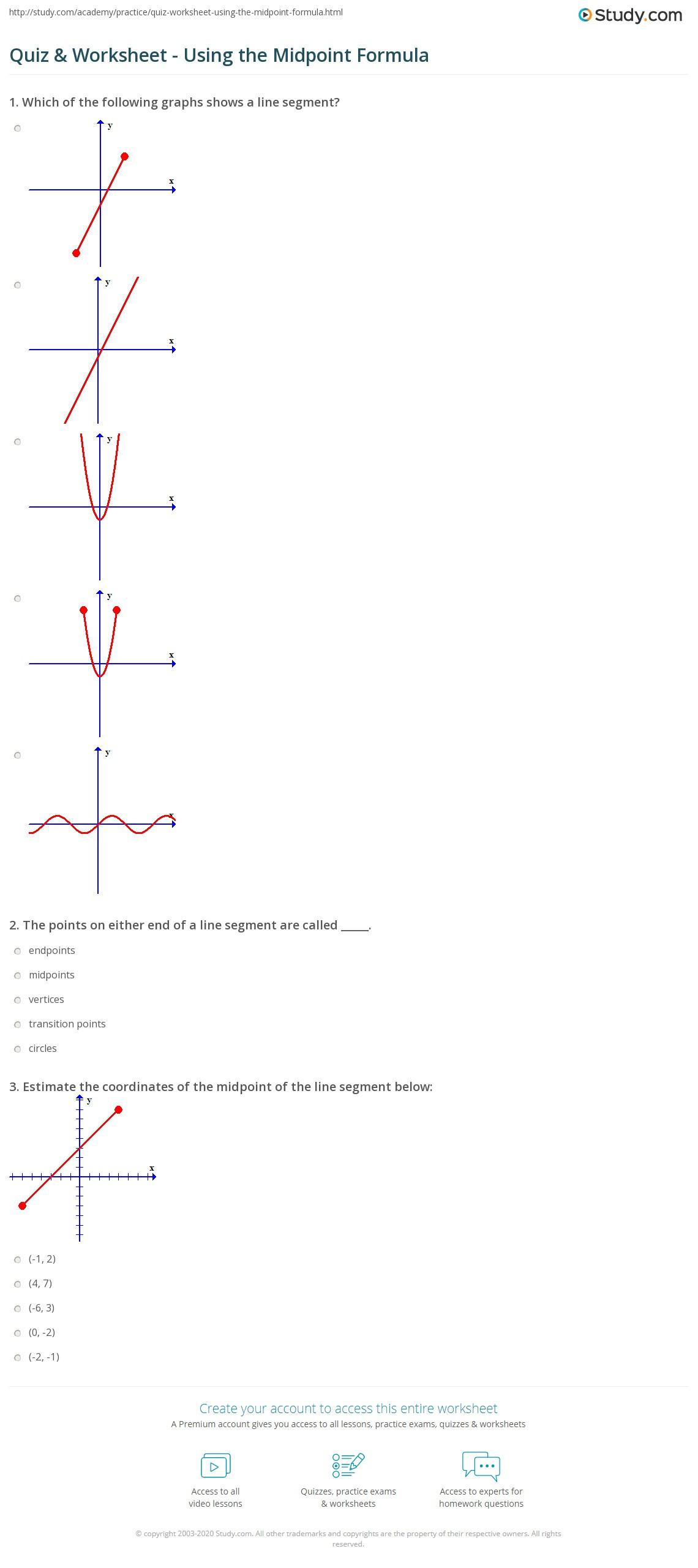 The Midpoint formula Worksheet Quiz & Worksheet Using the Midpoint formula