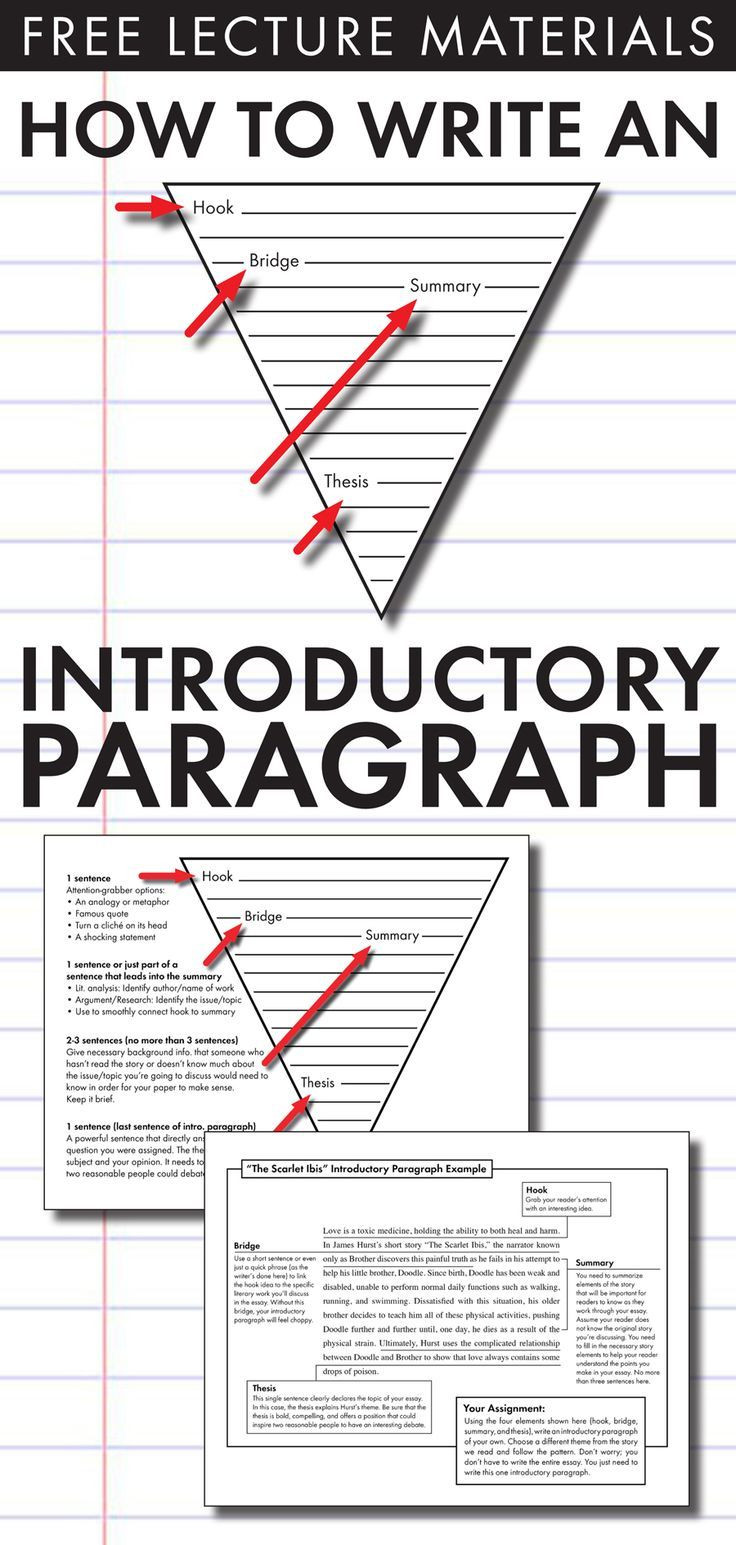 The Scarlet Ibis Worksheet How to Write An Introductory Paragraph Free Slides