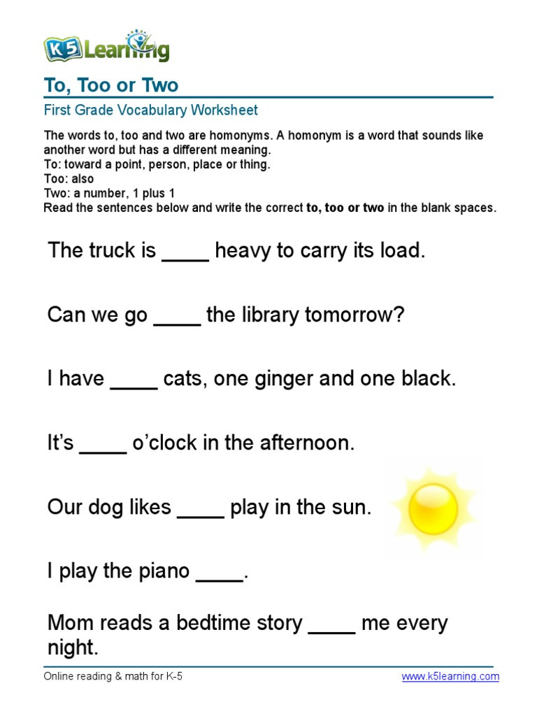To too Two Worksheet 1st Grade to too Two Sentences 4