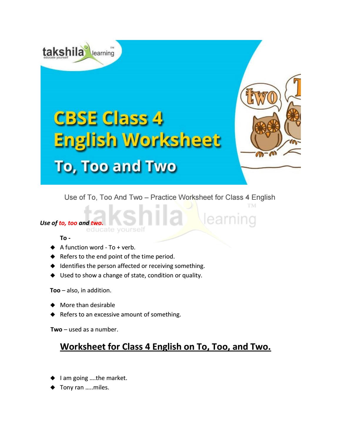 To too Two Worksheet 4th Class English Use Of to too and Two Practice Worksheet