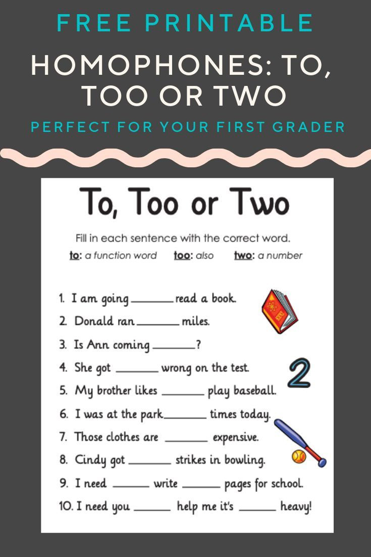To too Two Worksheet Homophones to too or Two