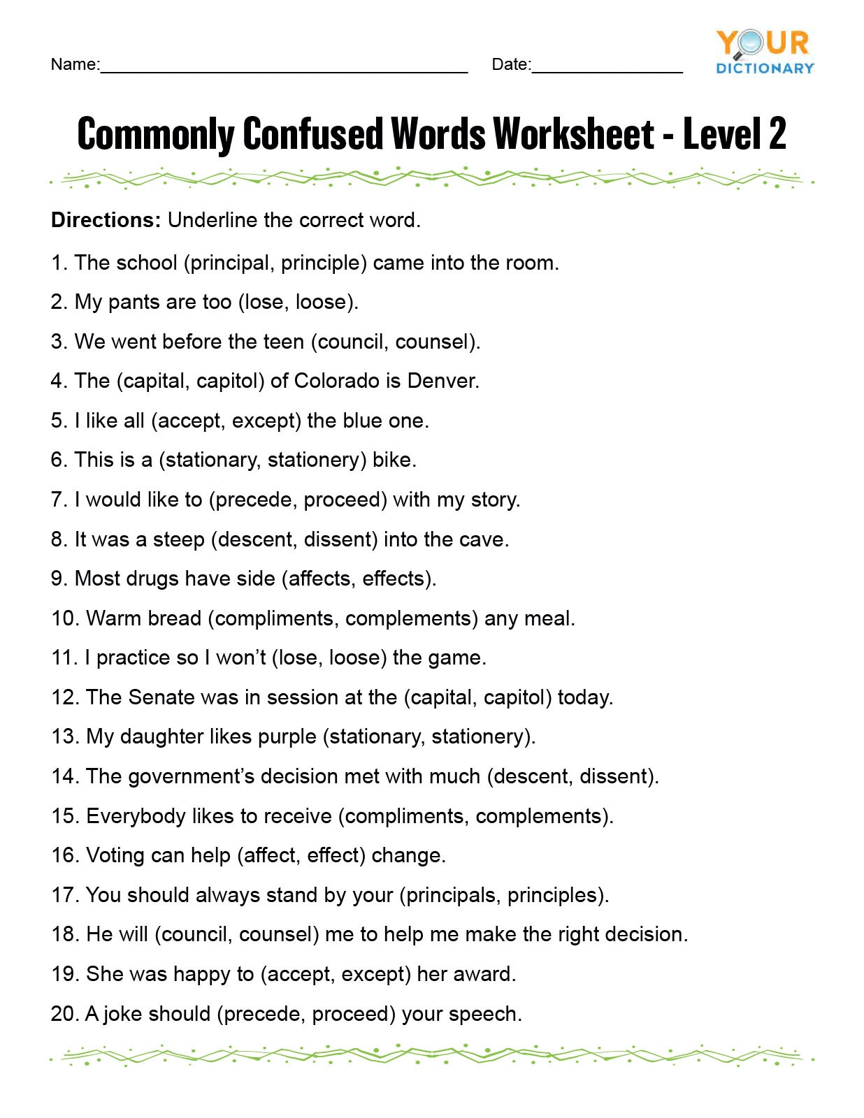 To too Two Worksheet Monly Confused Words Worksheet