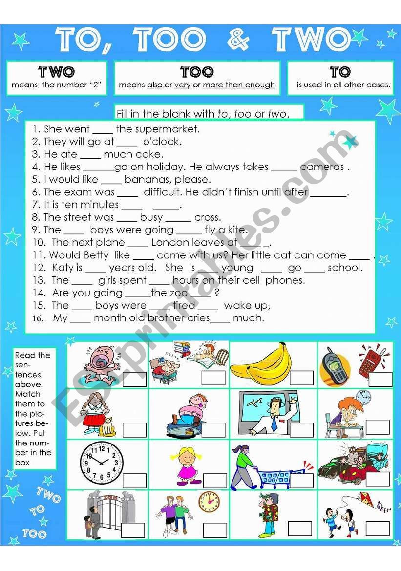 To too Two Worksheet to too & Two Esl Worksheet by Susiebelle