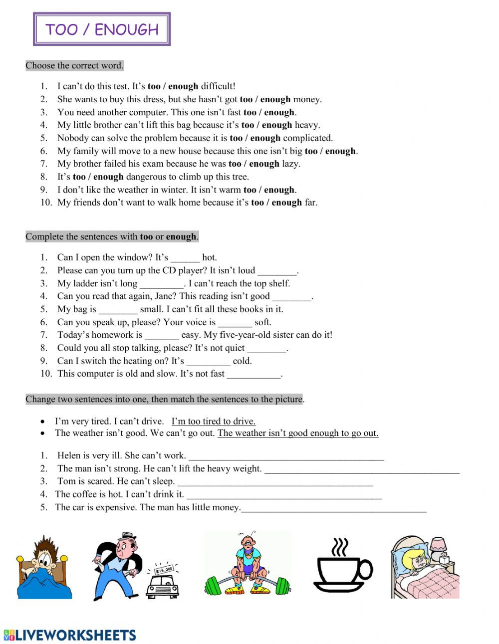 To too Two Worksheet too Enough Interactive Worksheet