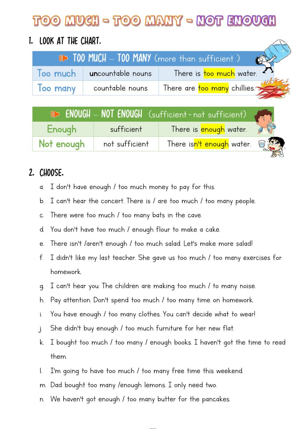 To too Two Worksheet too Much too Many Not Enough Interactive Worksheet