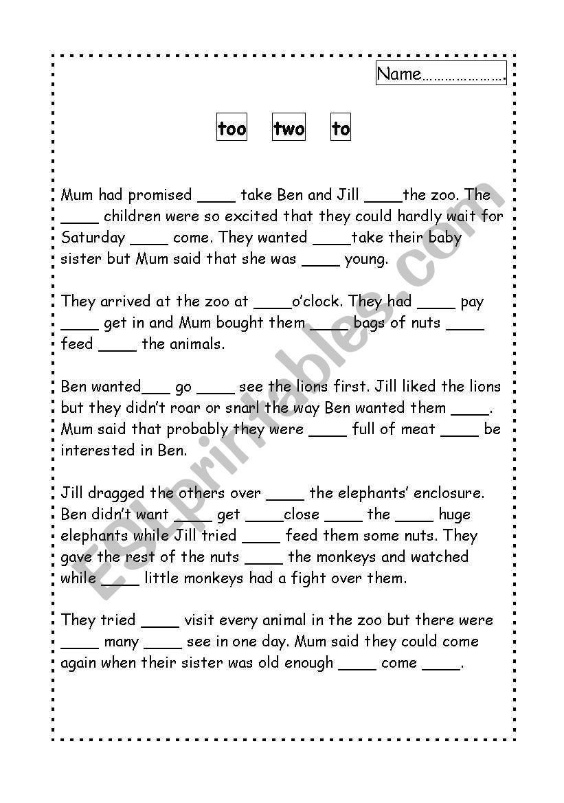 To too Two Worksheet too Two and to Esl Worksheet by Chrisharris76