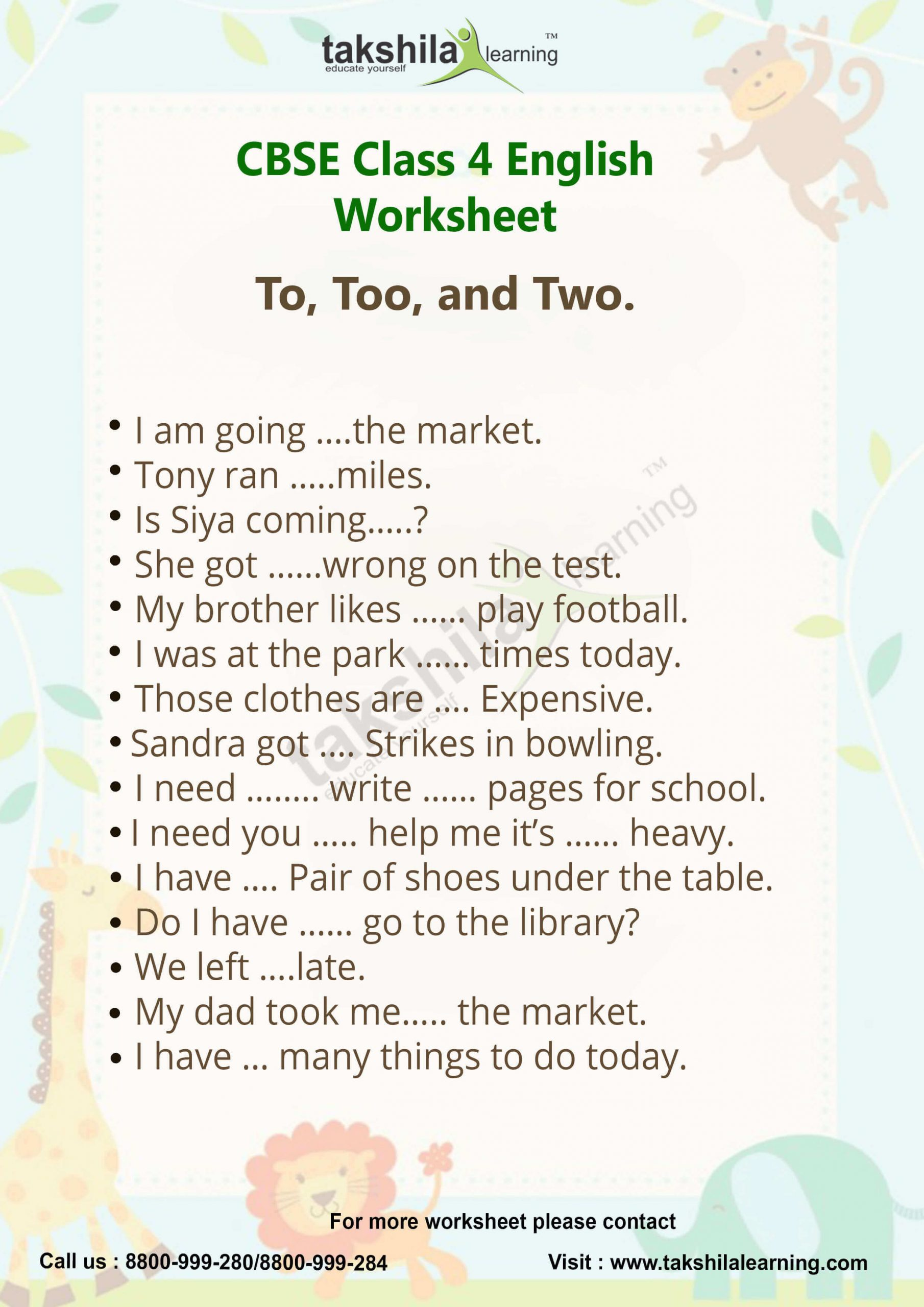 To too Two Worksheet Use Of to too and Two Practice Worksheet for Class 4 English