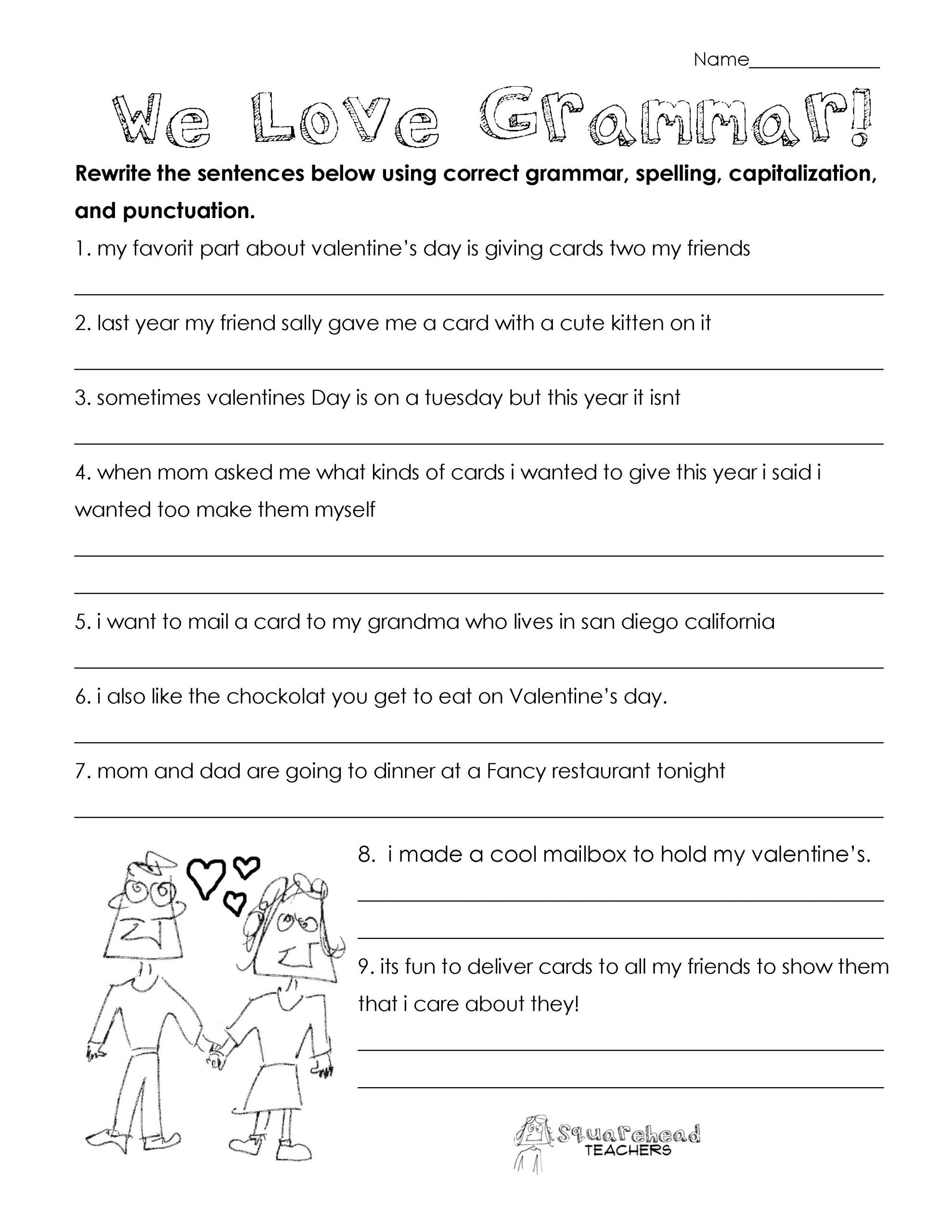 To too Two Worksheet Valentine S Day Grammar Free Worksheet for 3rd Grade and Up
