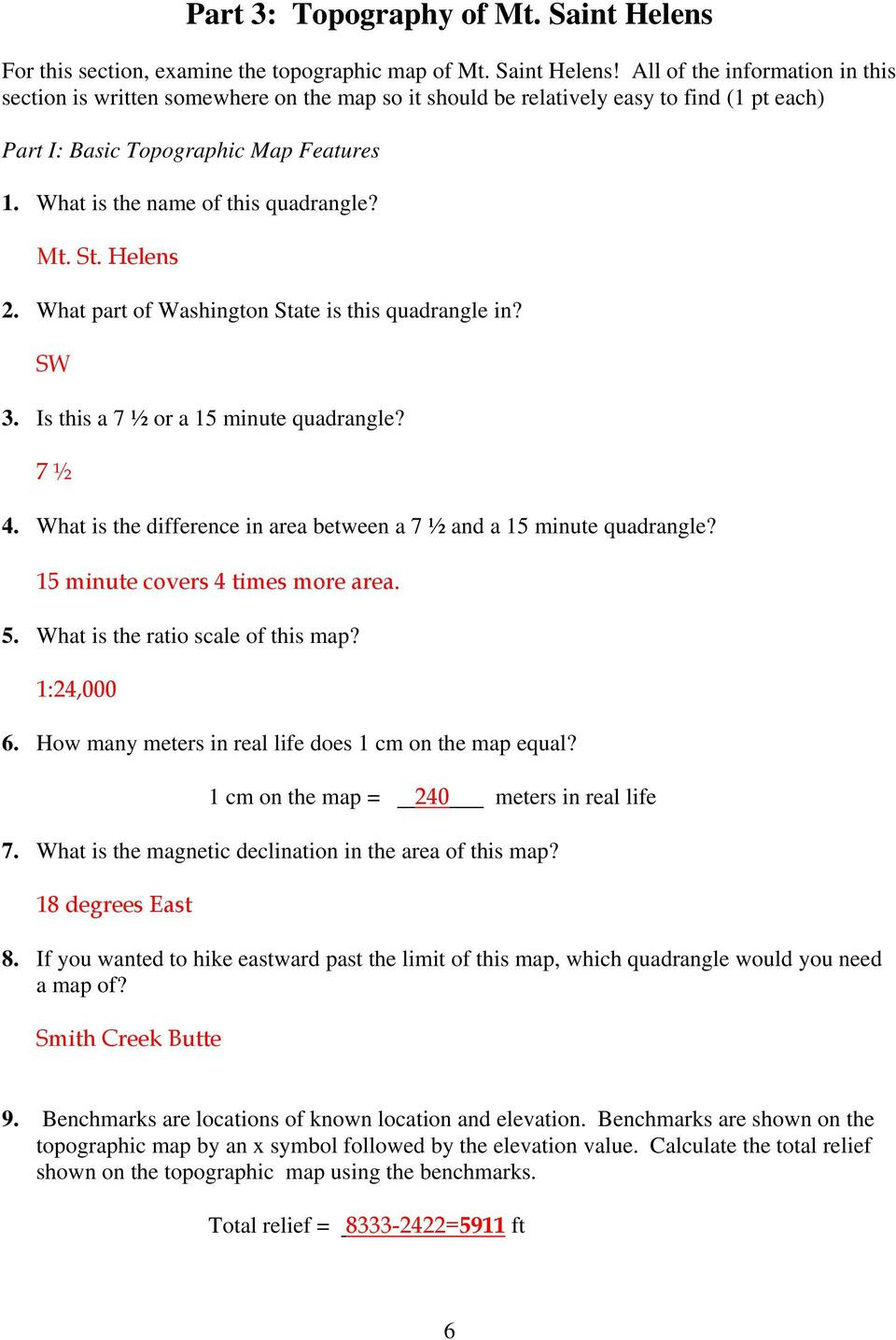 Topographic Map Reading Worksheet Laboratory 6 topographic Maps Pdf Free Download