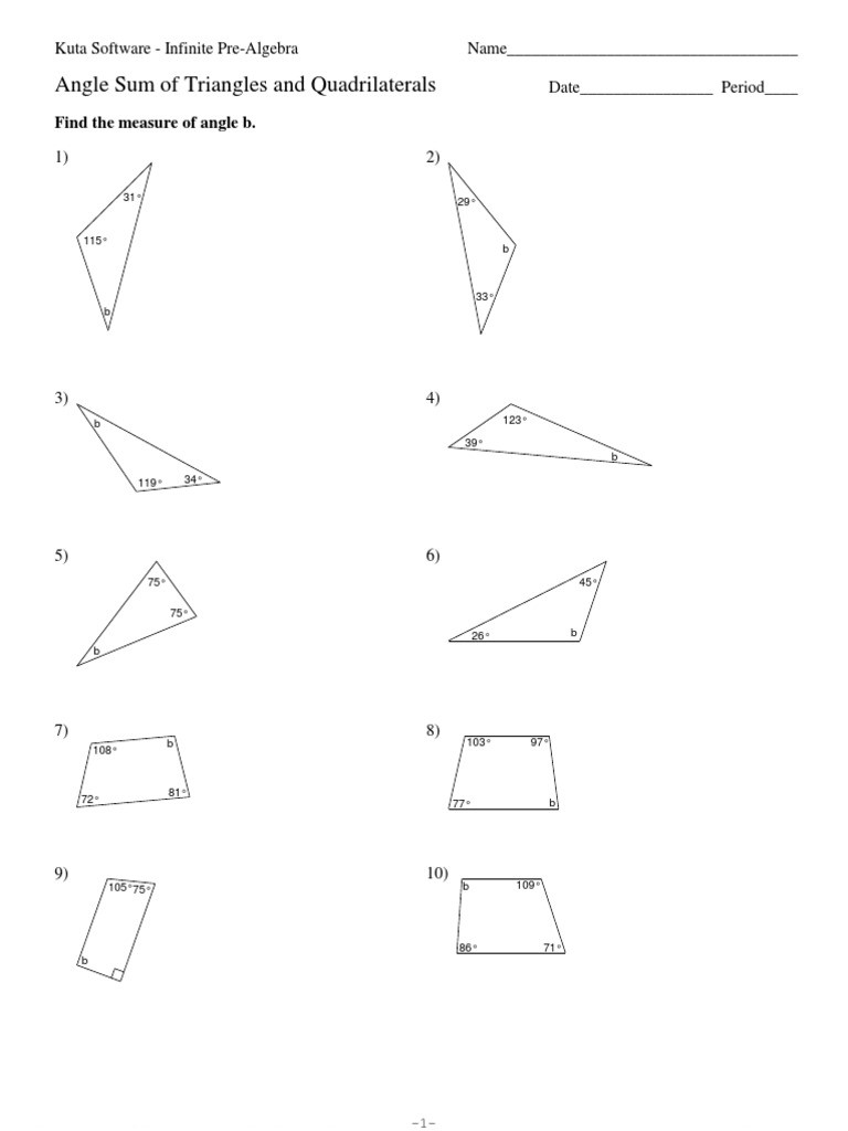 Triangle Angle Sum Worksheet Angle Sum Of Triangles and Quadrilaterals Pdf