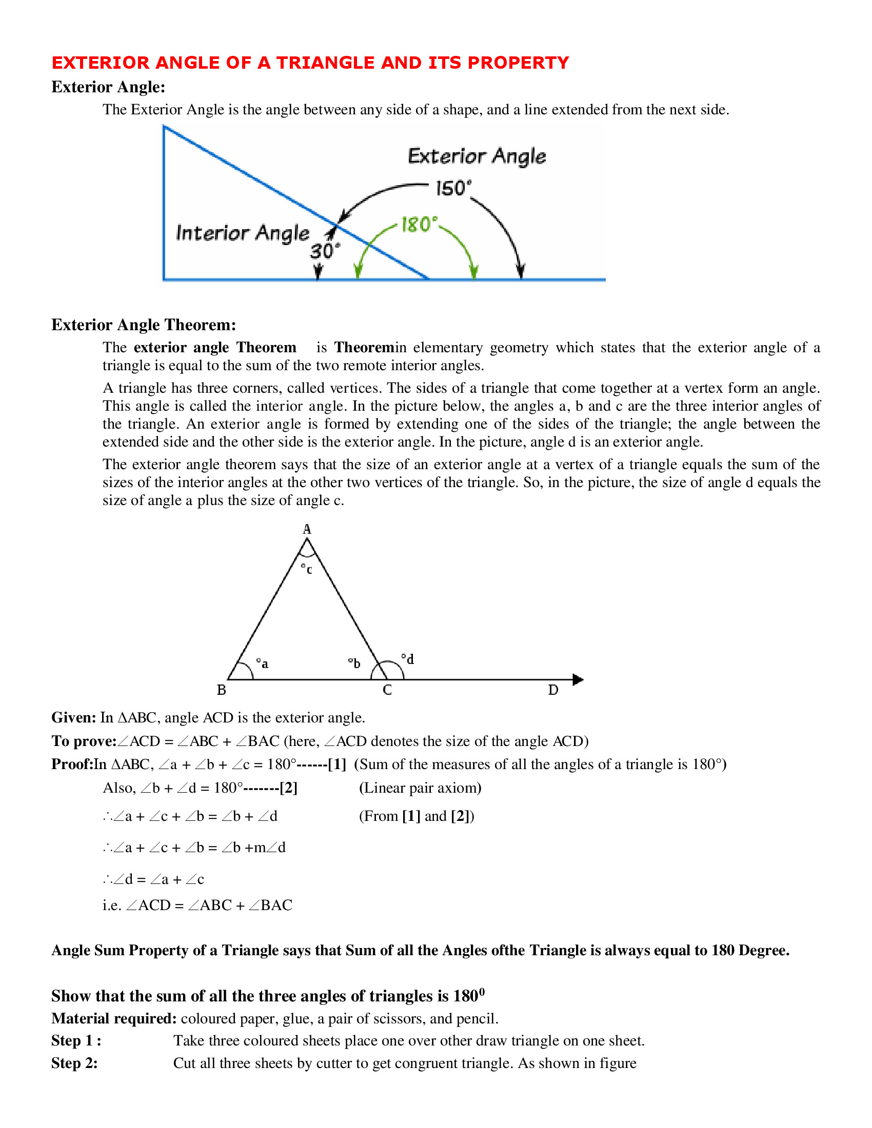 Triangle Angle Sum Worksheet Exterior Angle Of A Triangle and Its Property Worksheet