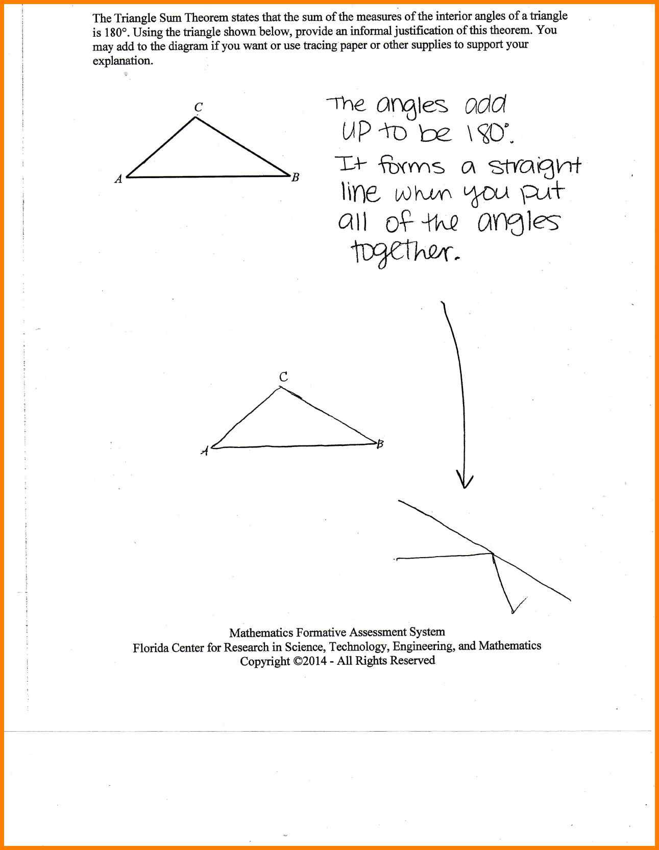 Triangle Angle Sum Worksheet Triangle Angle Sum theorem Worksheet