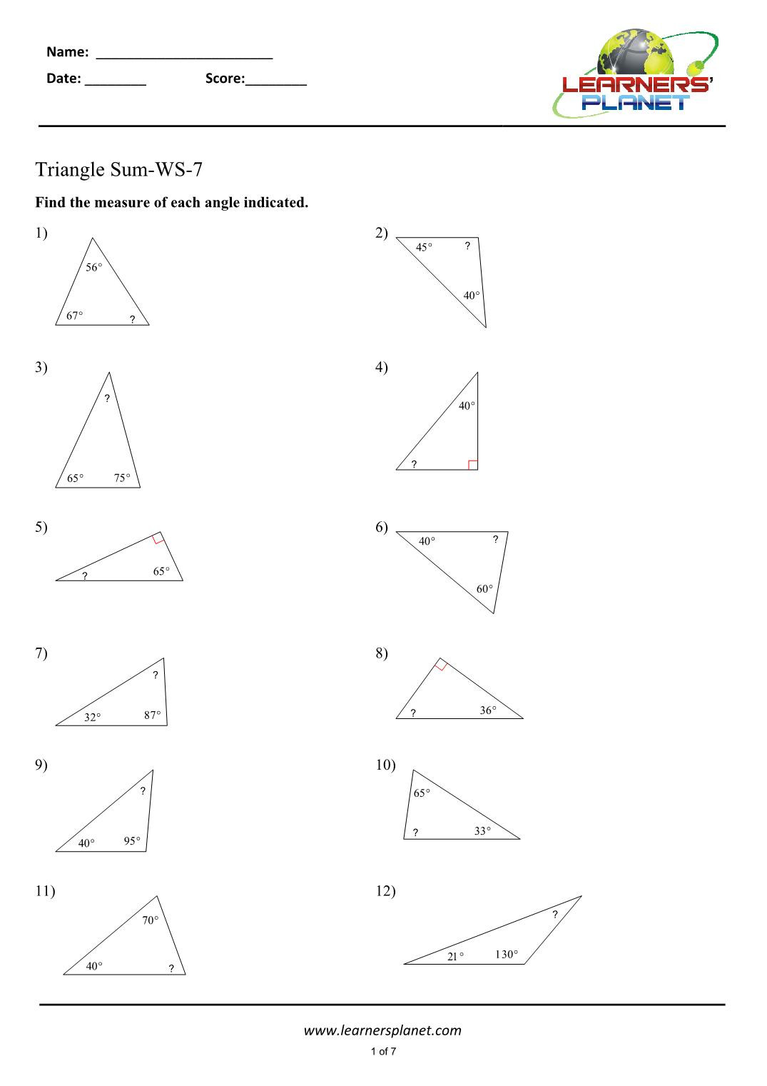 Triangle Angle Sum Worksheet Triangle Angle Sum Worksheets for Class 7