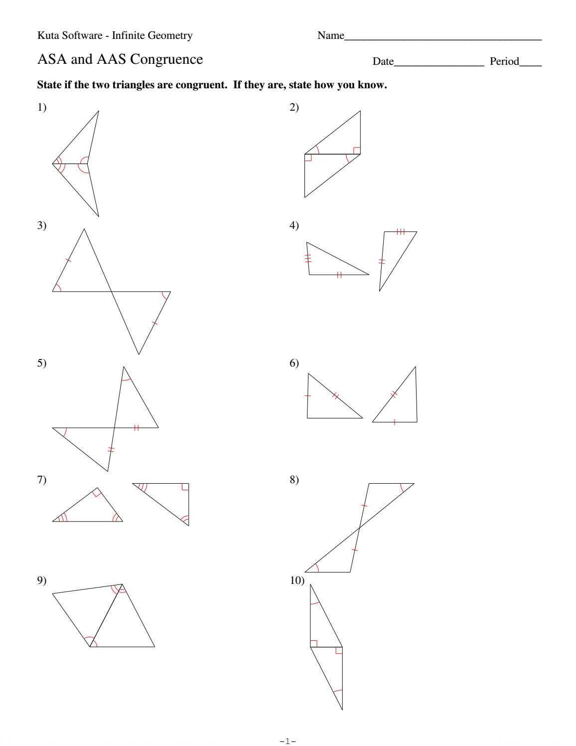 Triangle Congruence Worksheet Answer Key 4 asa and Aas Congruence by Hhs Geometry issuu