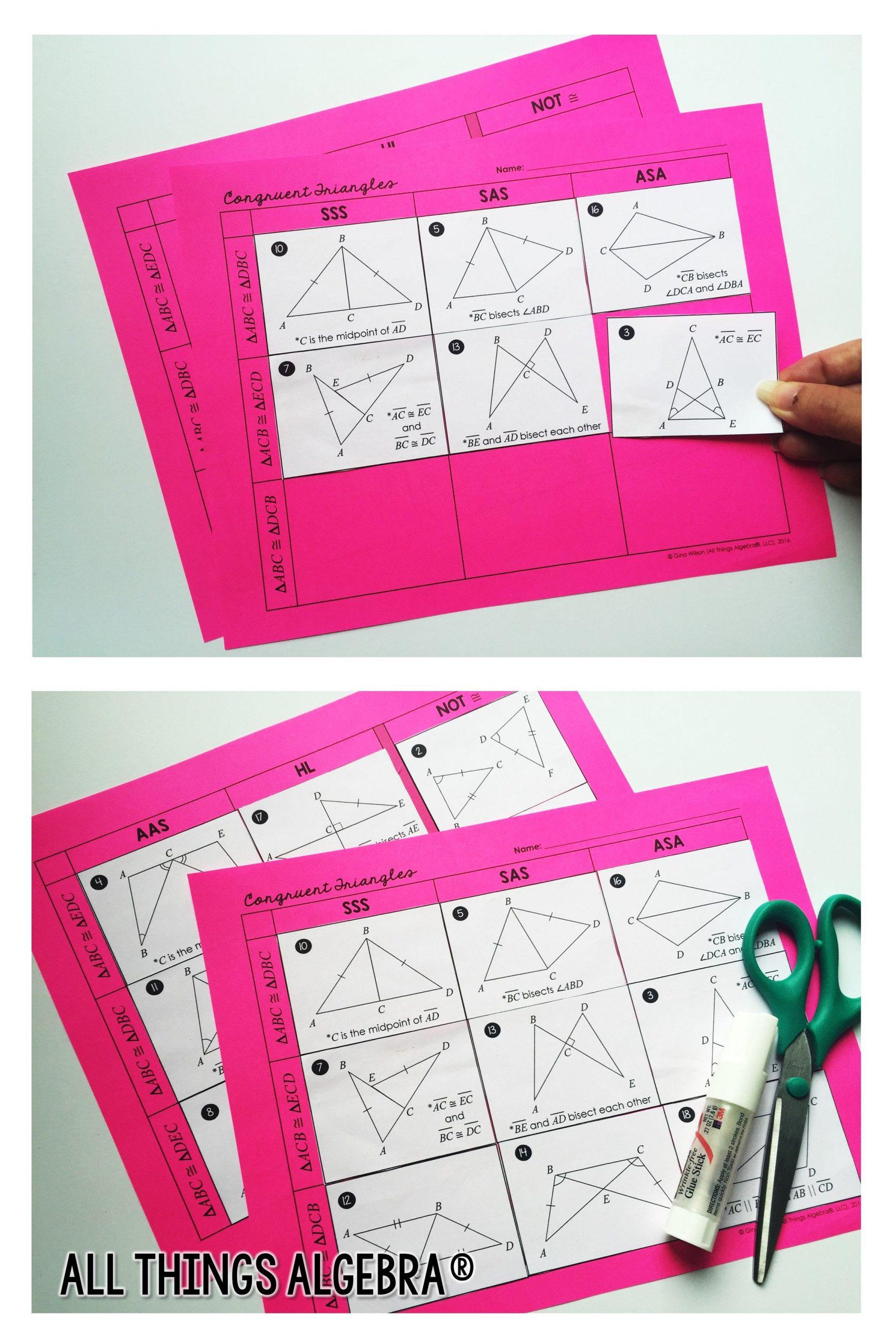 Triangle Congruence Worksheet Answer Key Pin On Math Grades 7 12