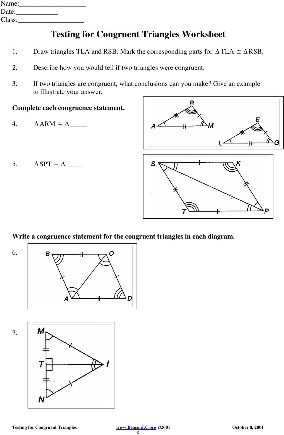 Triangle Congruence Worksheet Answer Key Testing for Congruent Triangles Examples Pdf Free Download
