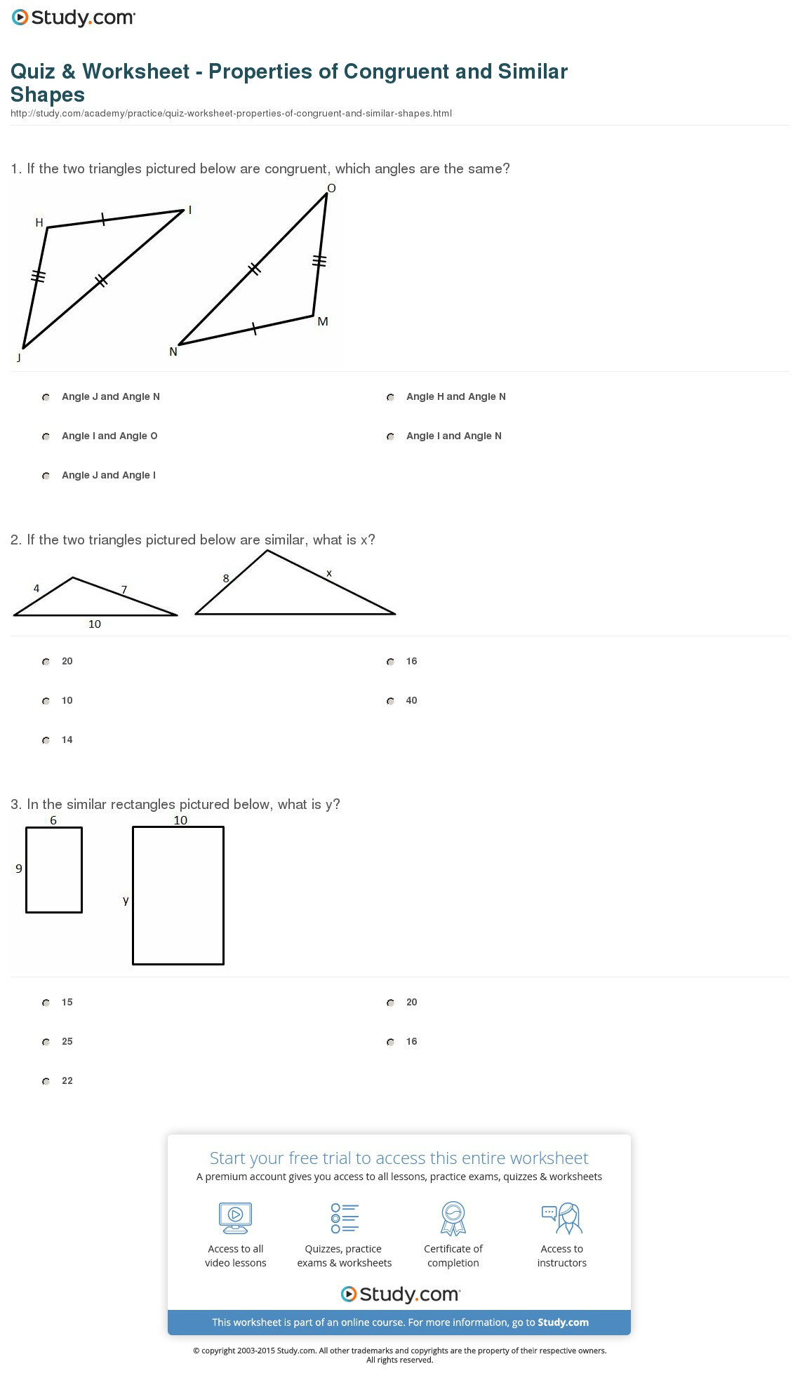Triangle Congruence Worksheet Answers Congruent and Similar Worksheets