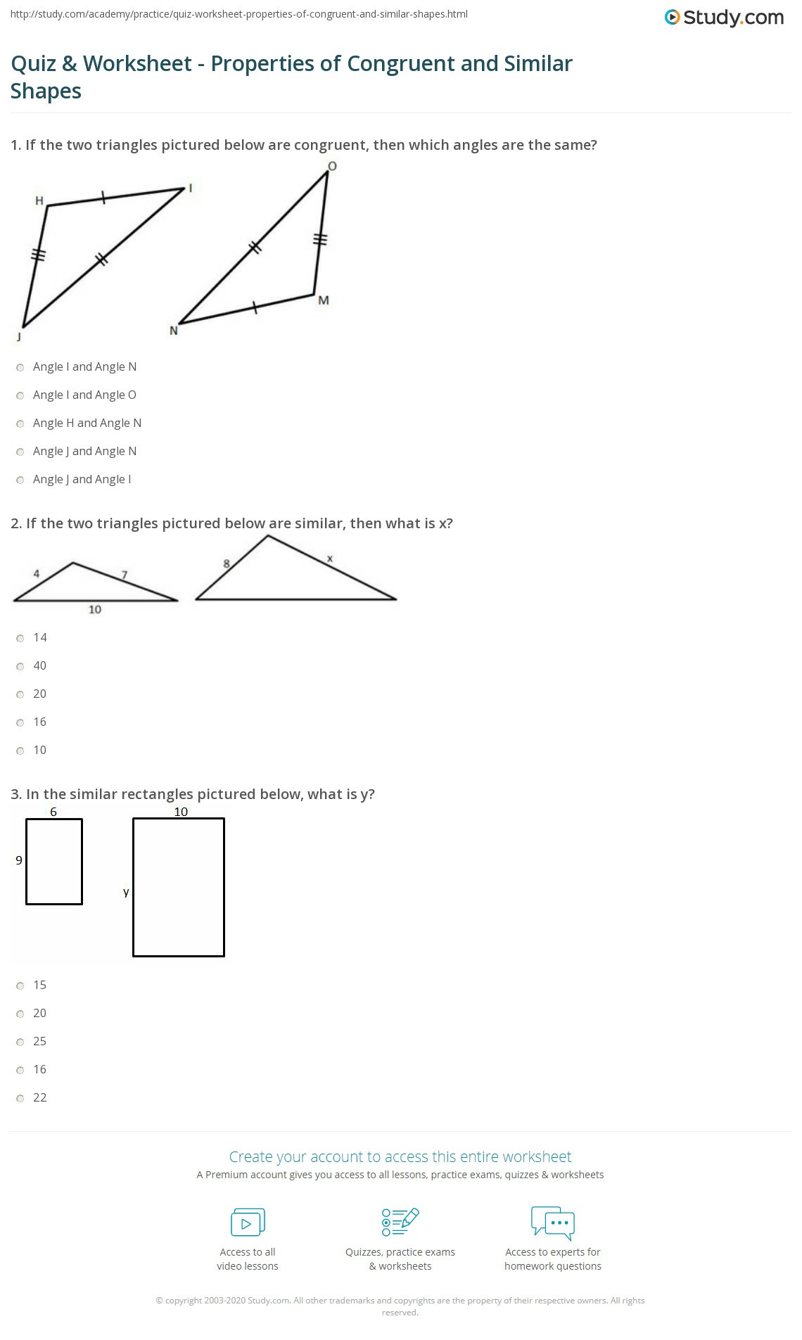 Triangle Congruence Worksheet Answers Quiz & Worksheet Properties Of Congruent and Similar