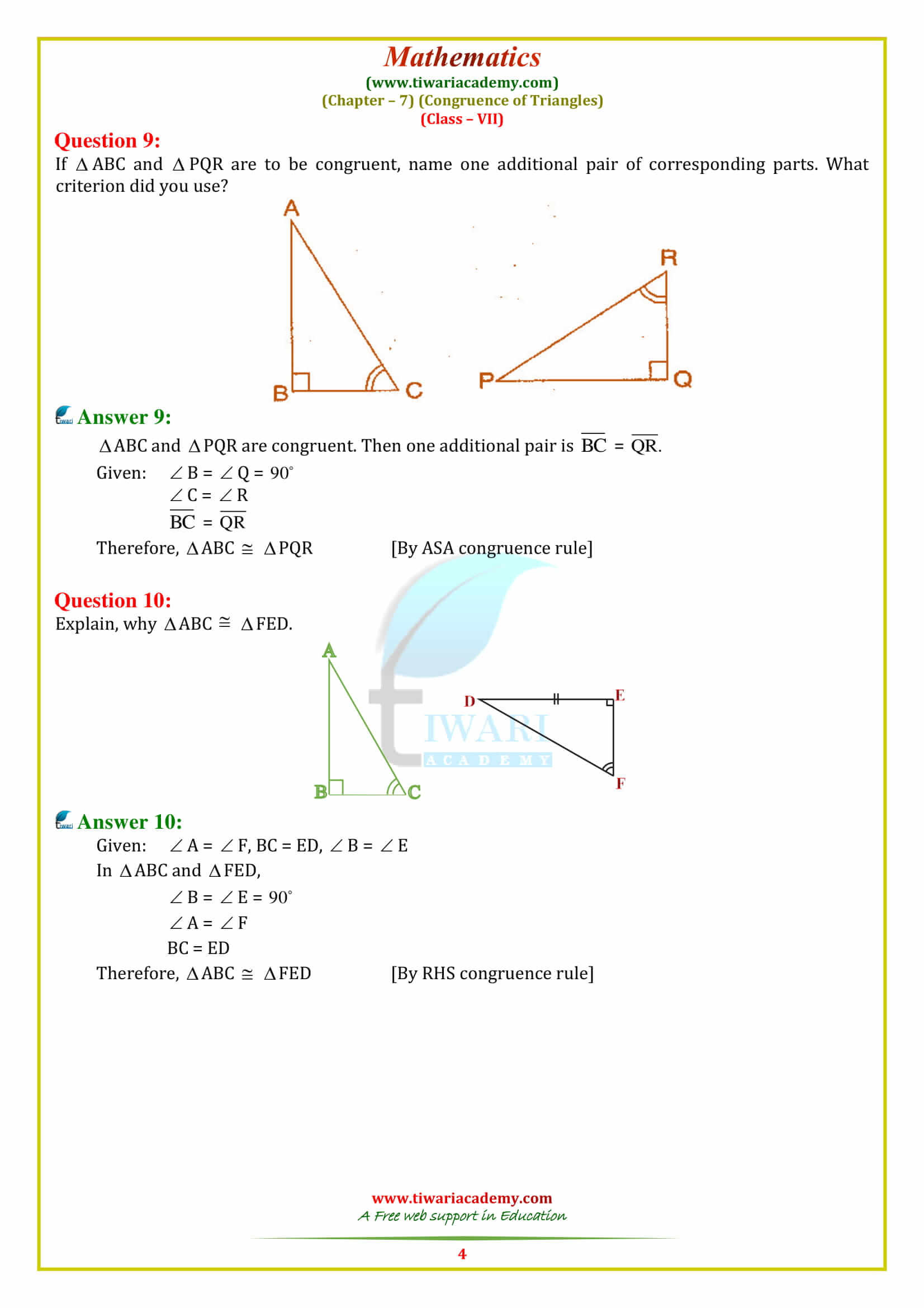 Triangle Congruence Worksheet Answers Worksheet Congruence Triangles for Class 9
