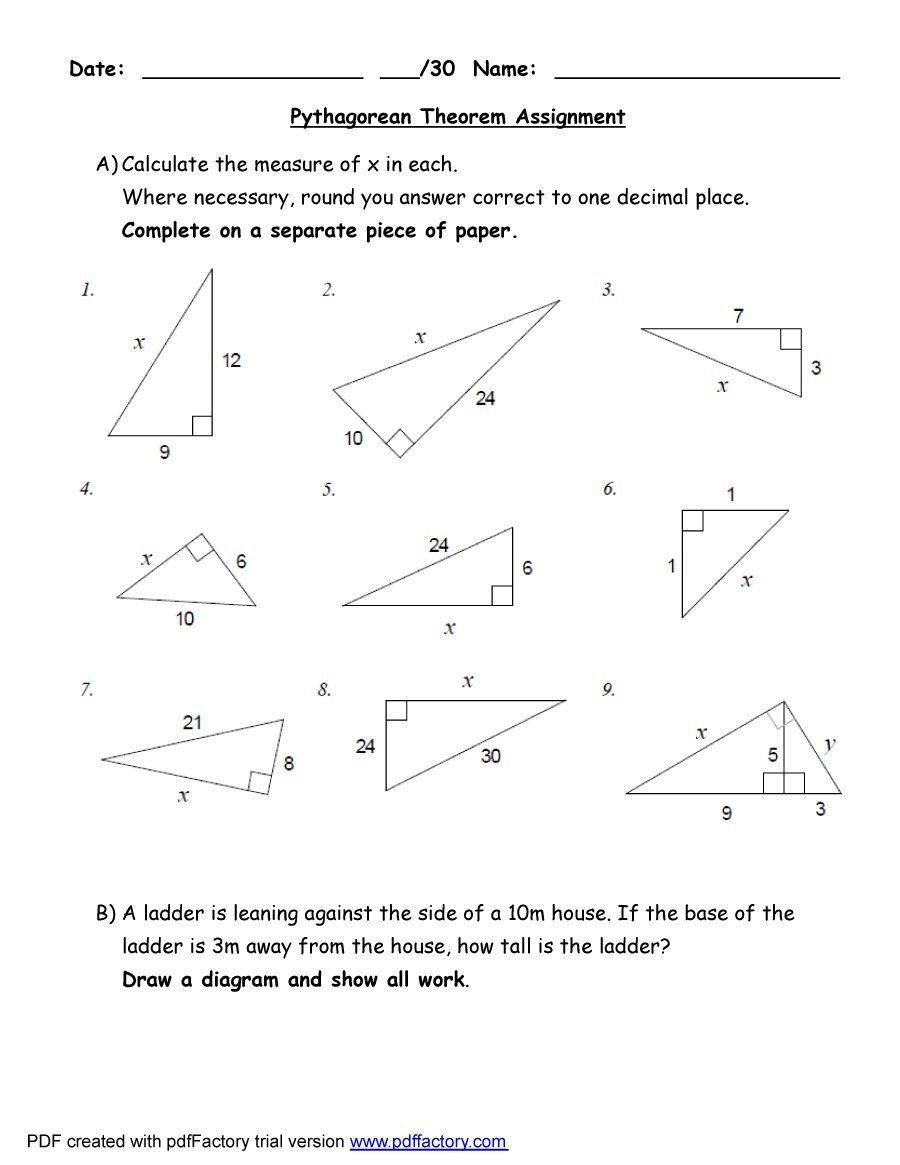 Trig Word Problems Worksheet Answers 2 Pythagorean Word Problems Worksheet In 2020