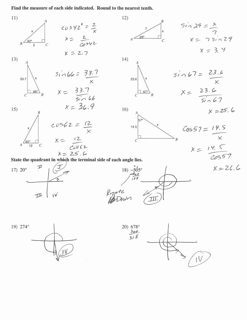 Trig Word Problems Worksheet Answers Angle Elevation and Depression Trig Worksheet Answers