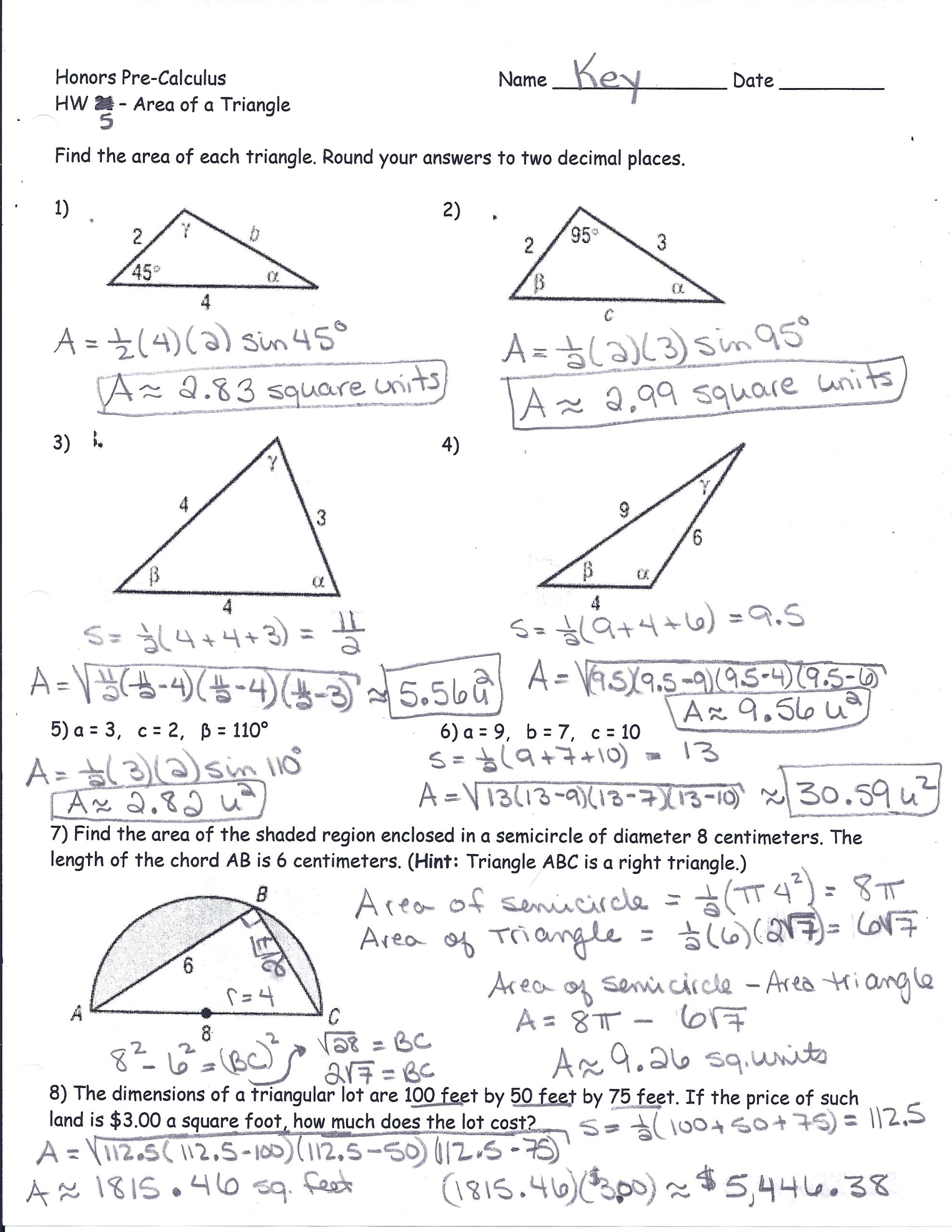Trig Word Problems Worksheet Answers area A Triangle Using Sine Worksheet – Colabug