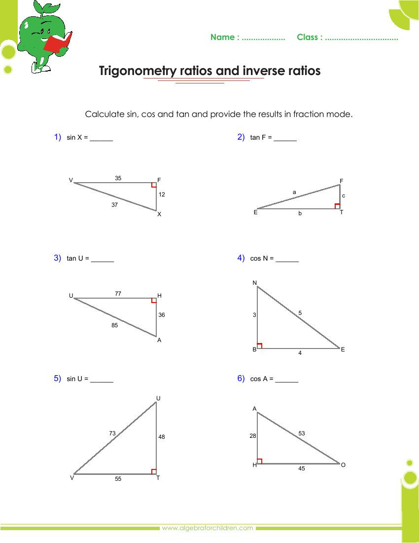 Trig Word Problems Worksheet Answers Basics Trigonometry Problems and Answers Pdf for Grade 10