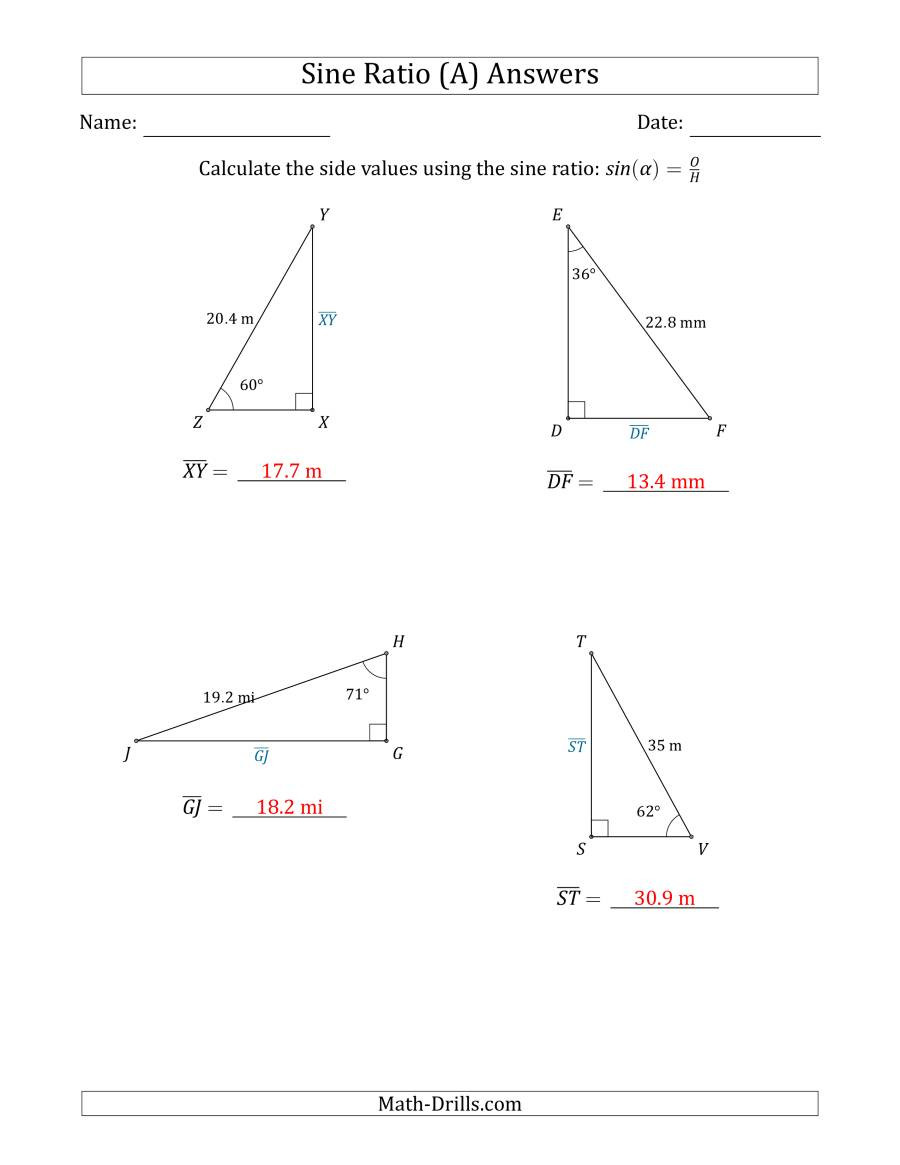 Trig Word Problems Worksheet Answers Calculating Side Values Using the Sine Ratio A